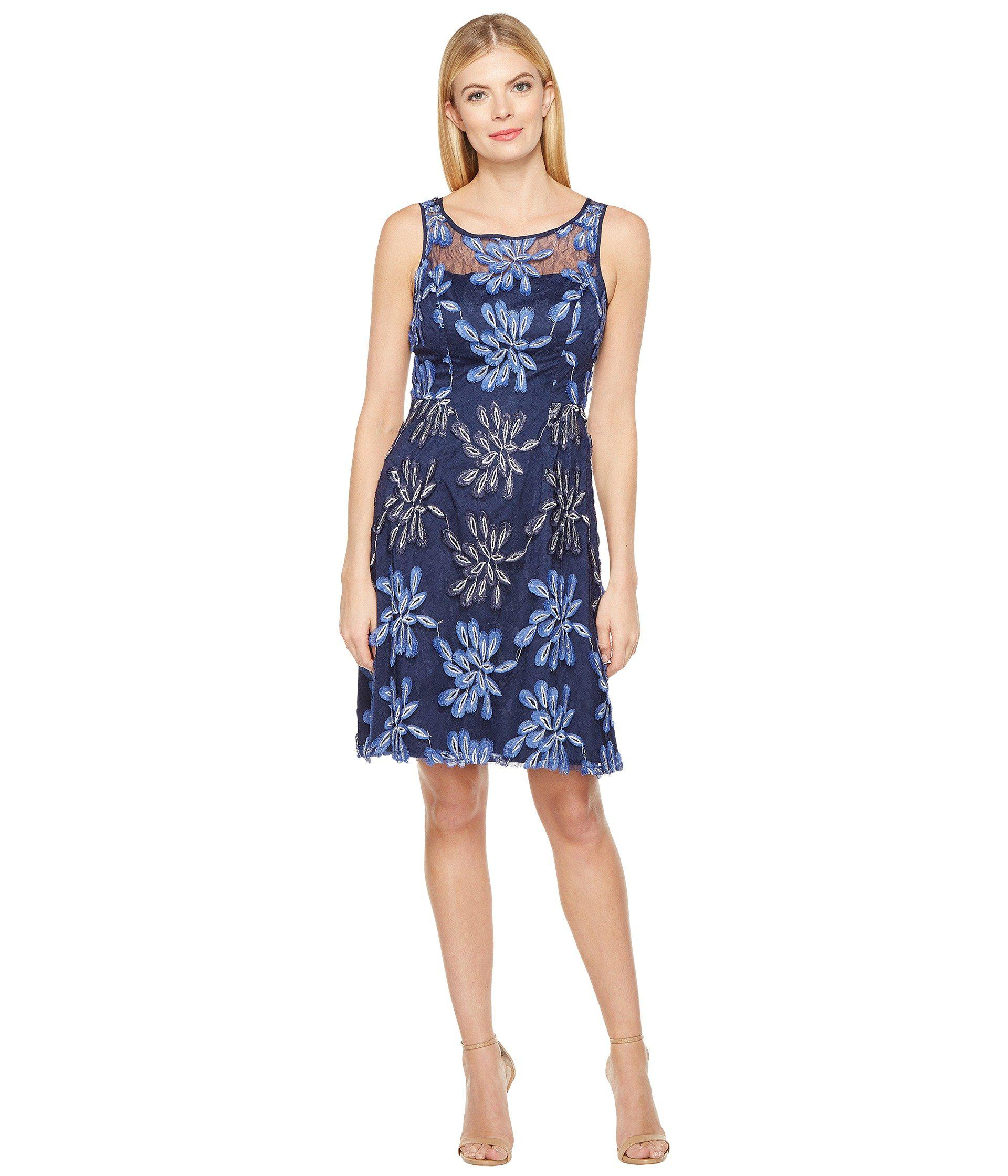 c52e1b37 Adrianna Papell Split Neck Fit And Flare Dress W Pleated Skirt – DACC