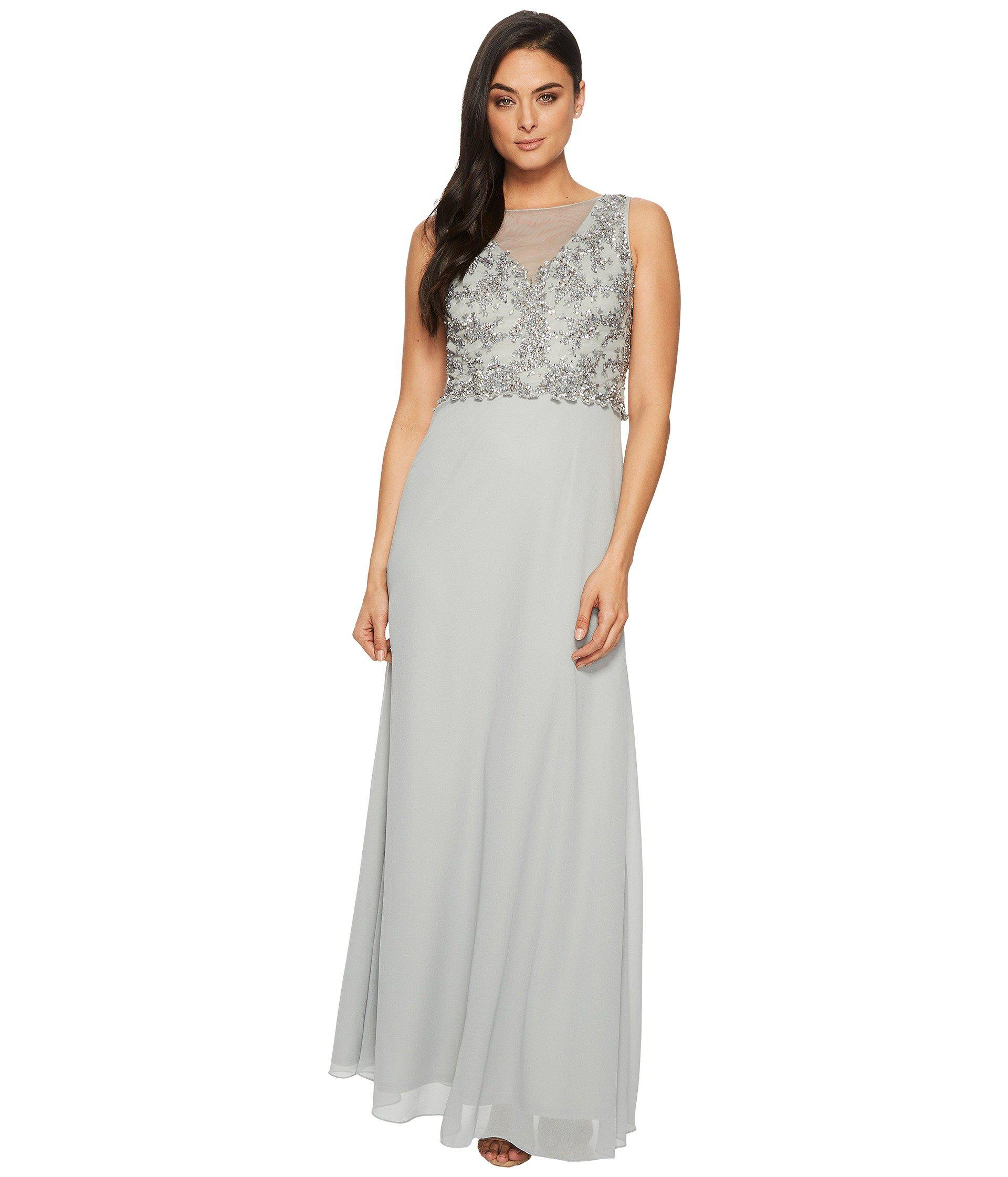 dac46c02b4086 Lyst - Adrianna Papell Sleeveless Beaded Bodice Gown With Sheer V ...