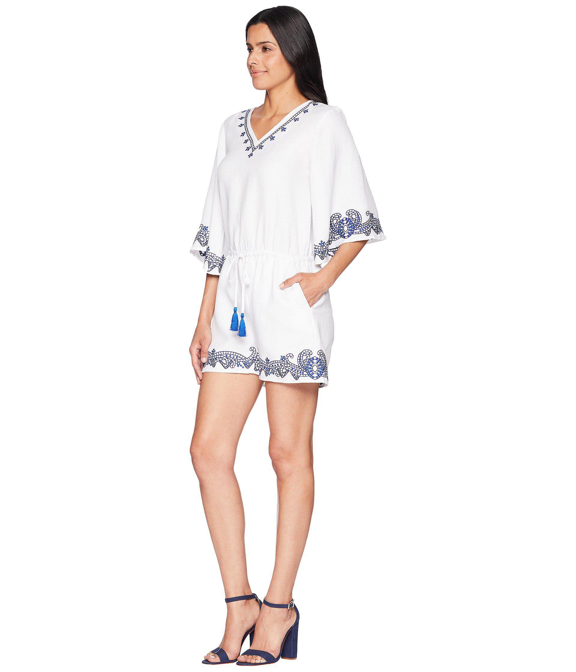 0ef4a06bef18 Lyst - Lauren by Ralph Lauren Embroidered Linen Romper in White - Save 26%