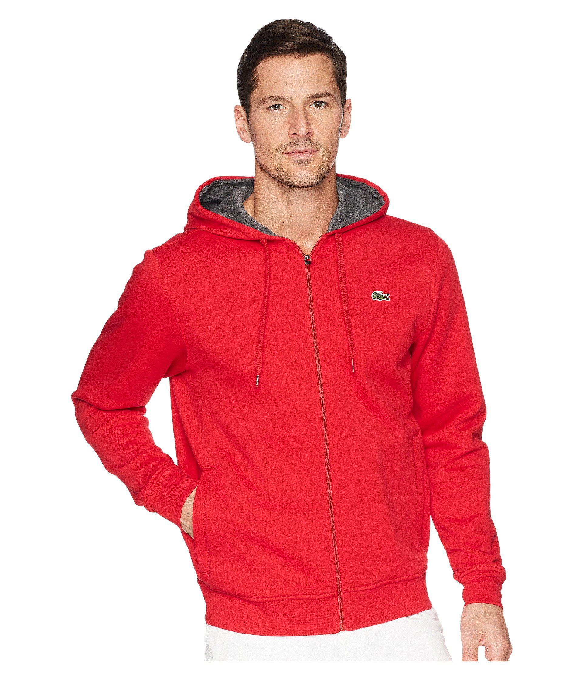 356f1997bfb2 Lyst - Lacoste Full Zip Hoodie Fleece Sweatshirt in Red for Men