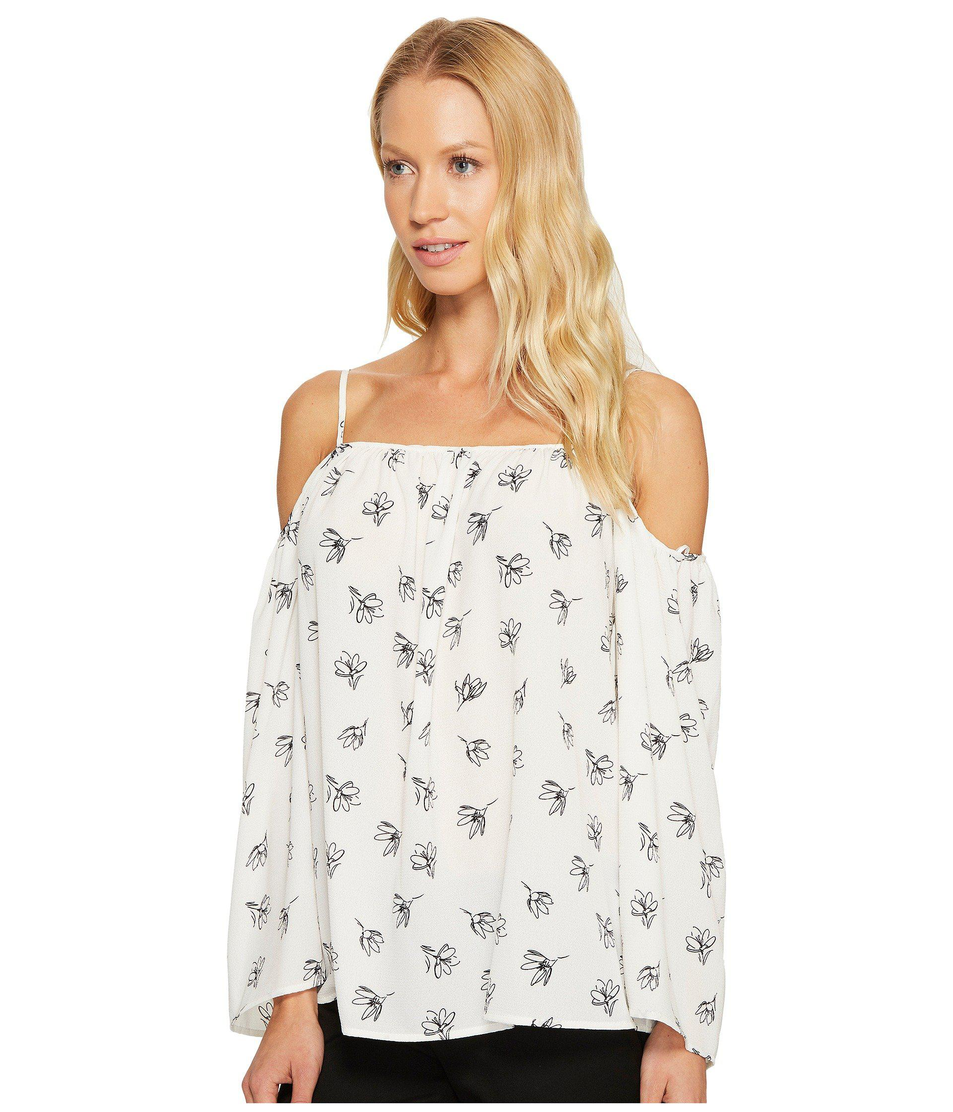 020353a534d78 Lyst - Vince Camuto Long Sleeve Fluent Flowers Cold-shoulder Blouse in  White - Save 61%