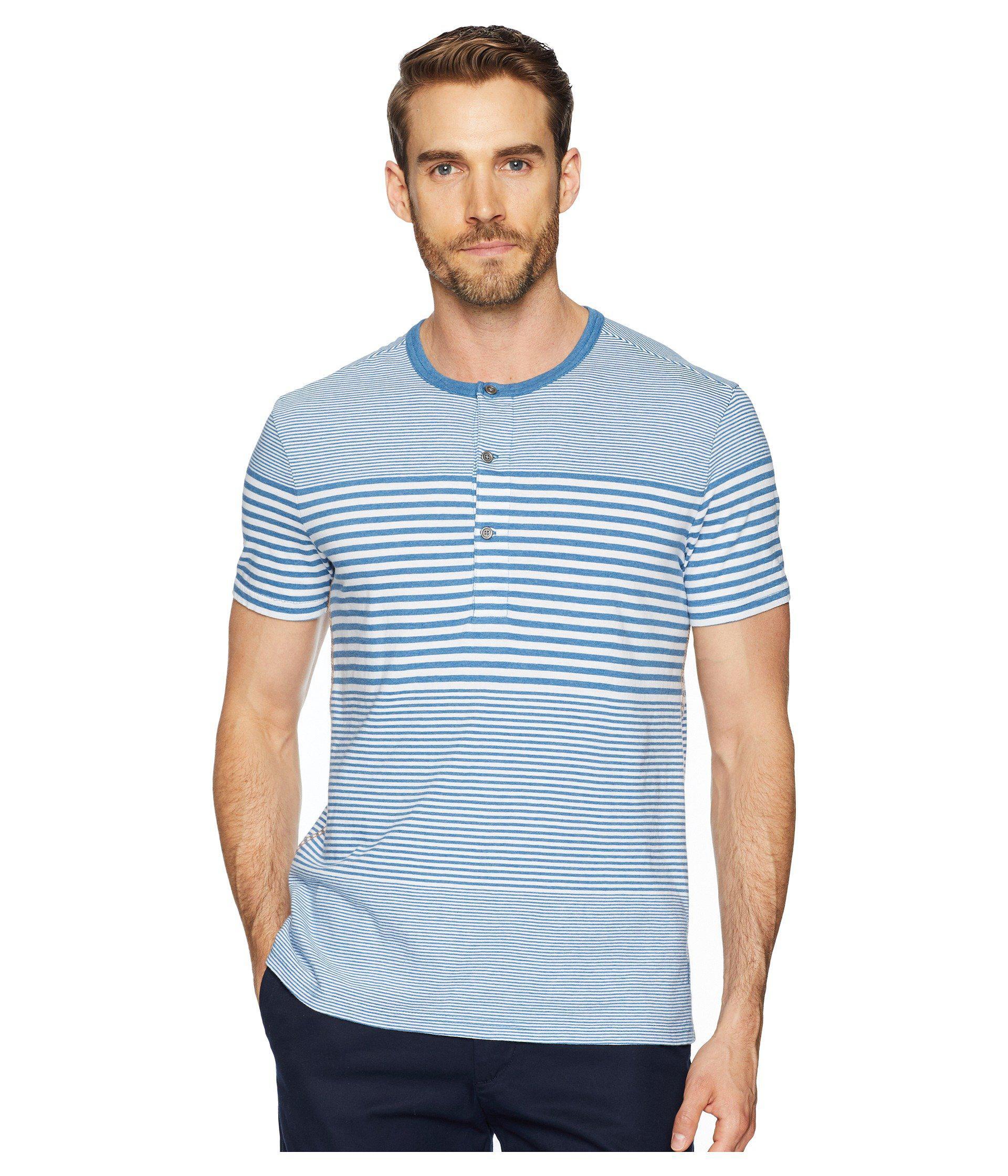 7d95f1c2 Lyst - Calvin Klein Short Sleeve Striped Henley in Blue for Men ...