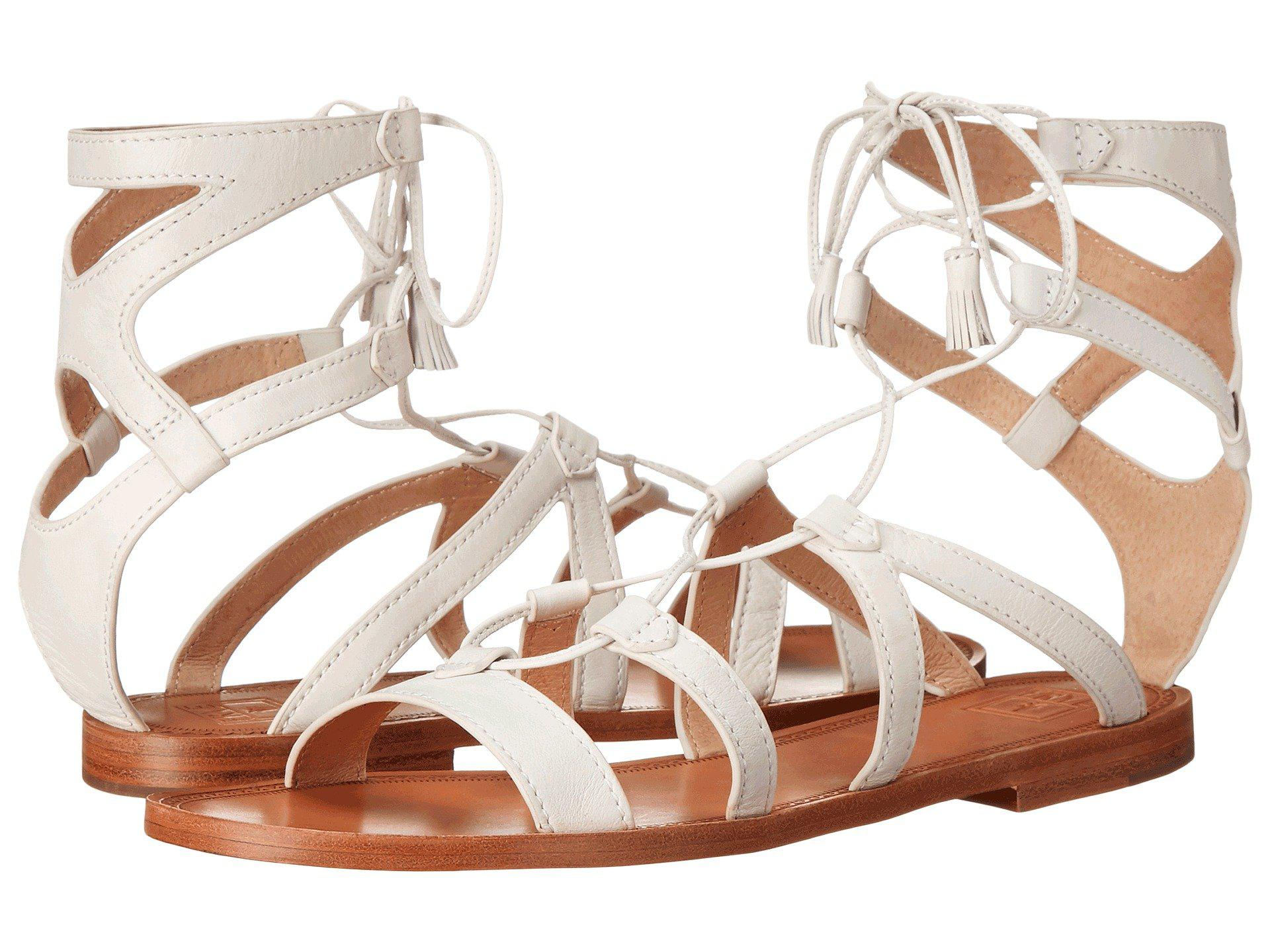 Frye. Women's White Ruth Gladiator Short Sandal