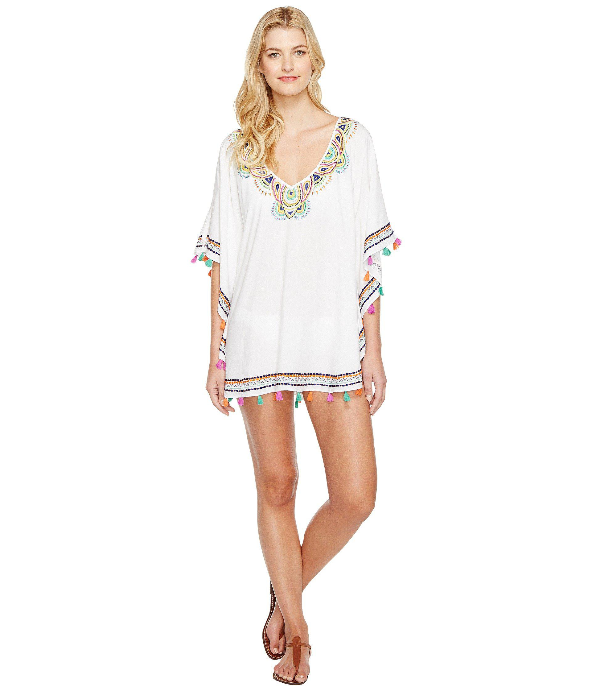 d1209c690c Lyst - Trina Turk Paisley Embroidery Caftan Cover-up in White