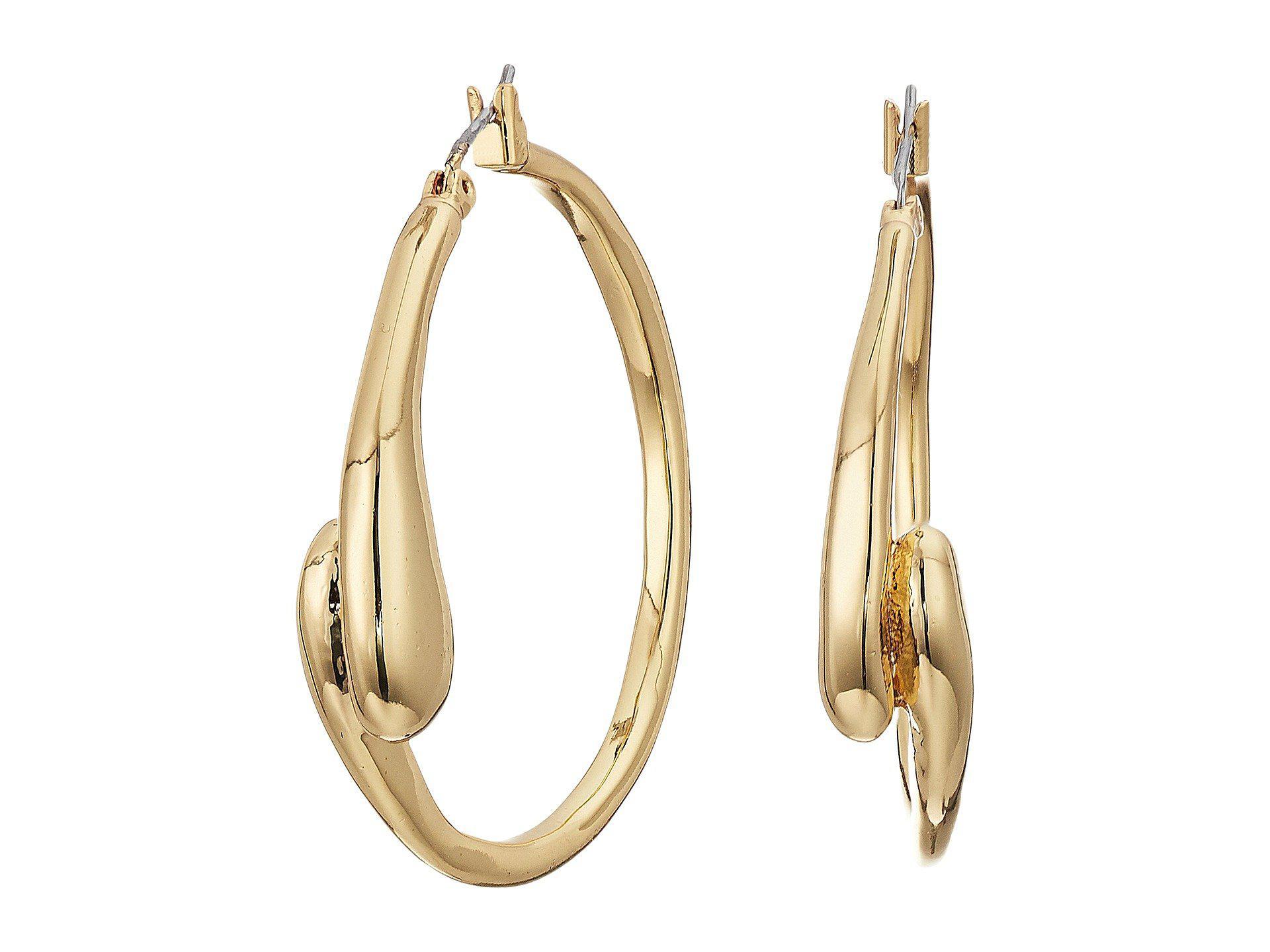 Robert Lee Morris Women S Metallic Shiny And Brushed Gold Tone Curved Hoop Earrings