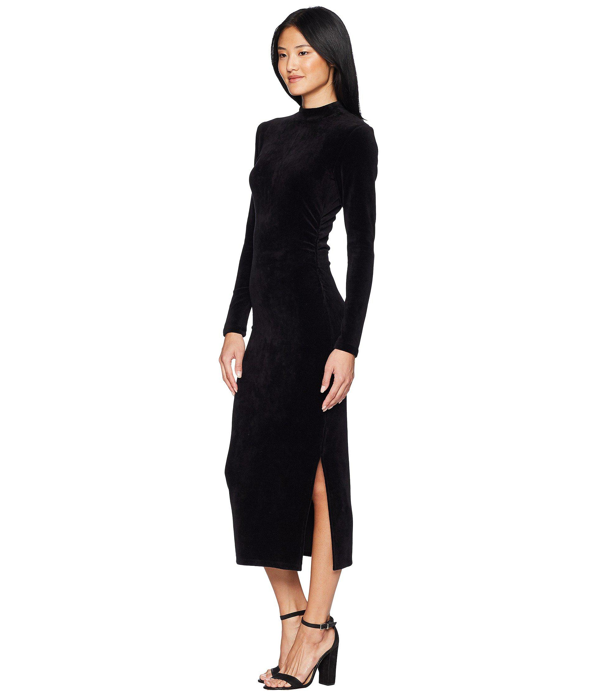 f7ab642254f59 Juicy Couture Track Stretch Velour Mock Neck Midi Dress in Black - Lyst