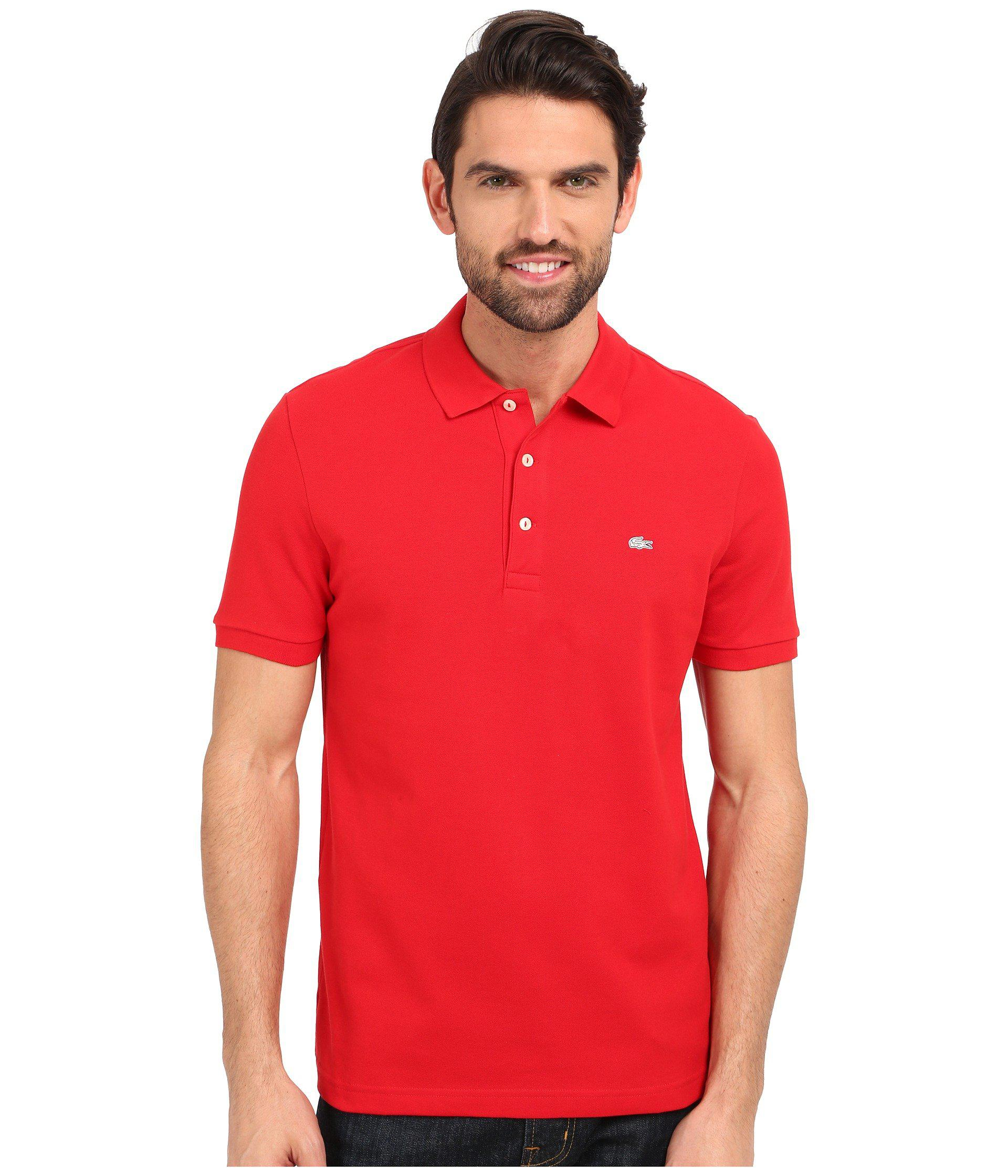 b2de47f2d Mens Slim Fit Lacoste Polo Shirt In Stretch Petit Piqué