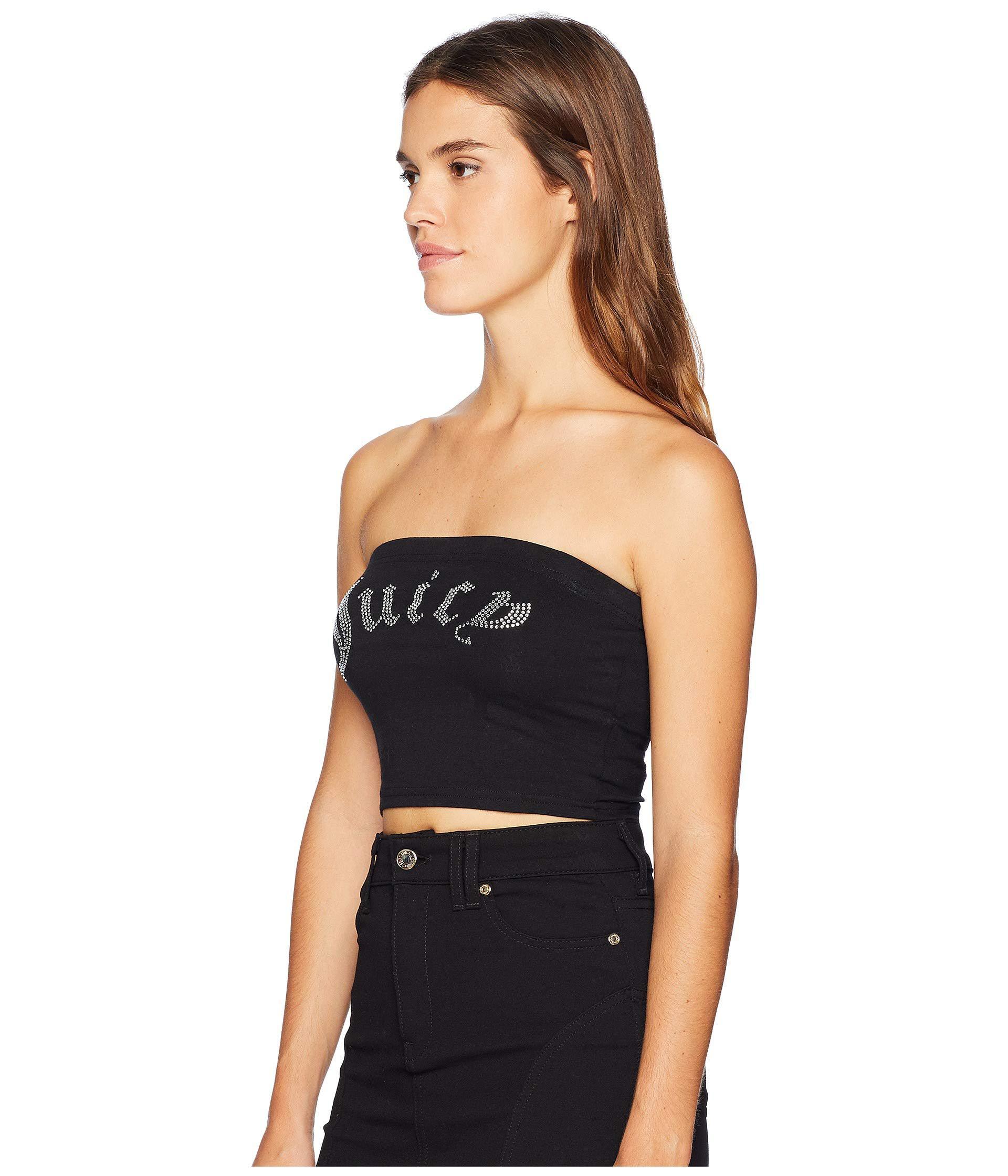 9142ddce7e Lyst - Juicy Couture Knit Juicy Shrunken Tee in Black