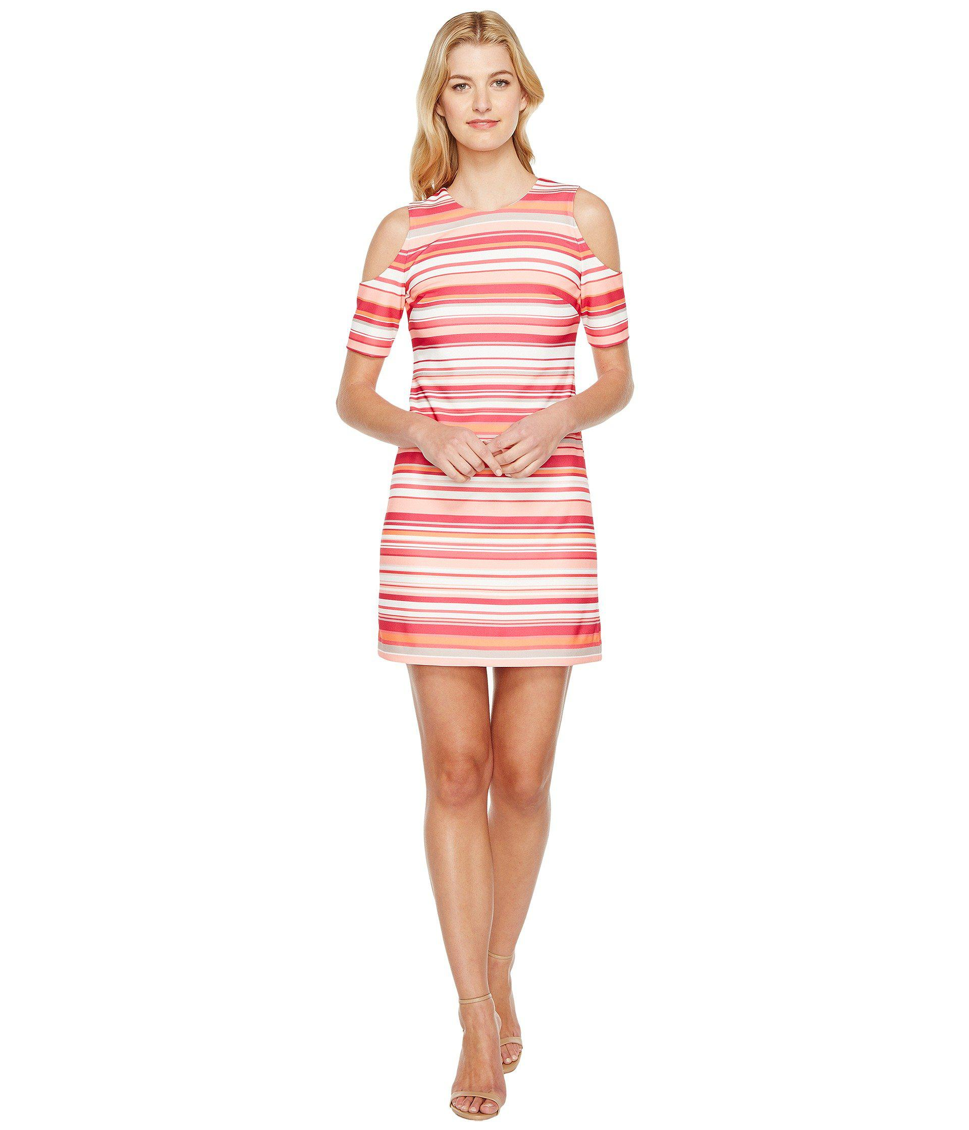 049c0c9cad9d09 Lyst - Calvin Klein Cold Shoulder Stripe Dress in Pink - Save 58%