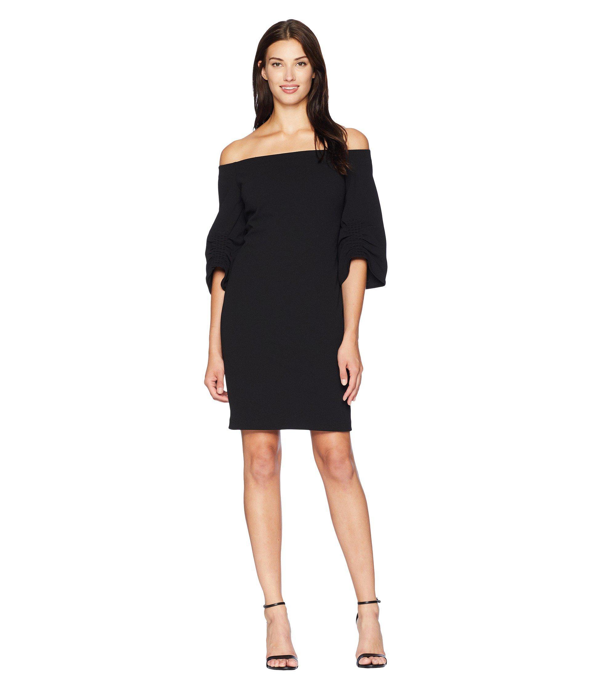 c802d493e6 Vince Camuto. Women s Black Off The Shoulder Cinched Sleeve Sheath Dress ...