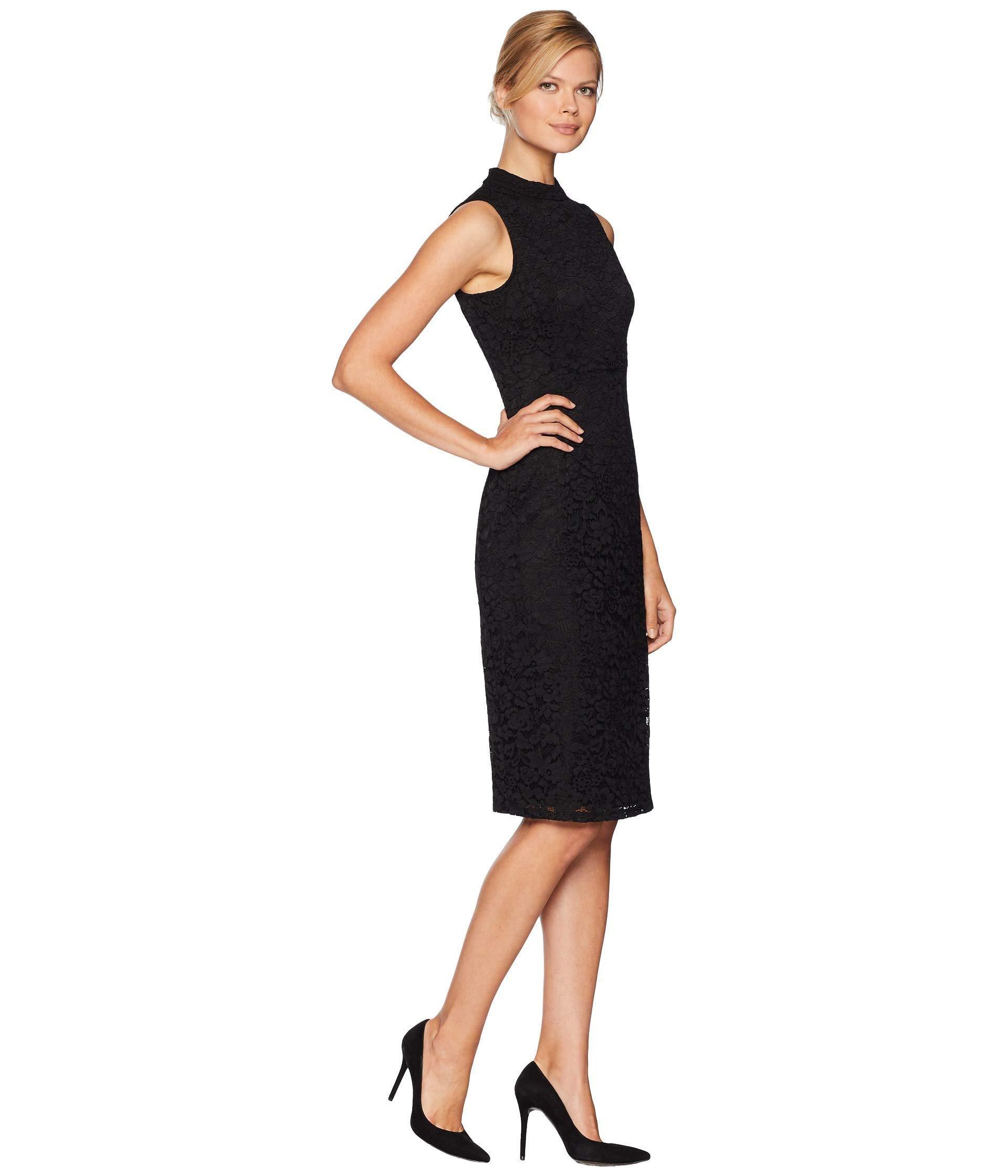 e546c644ae9bd Nine West - Black Lace Mock Turtleneck Sheath Dress - Lyst. View fullscreen