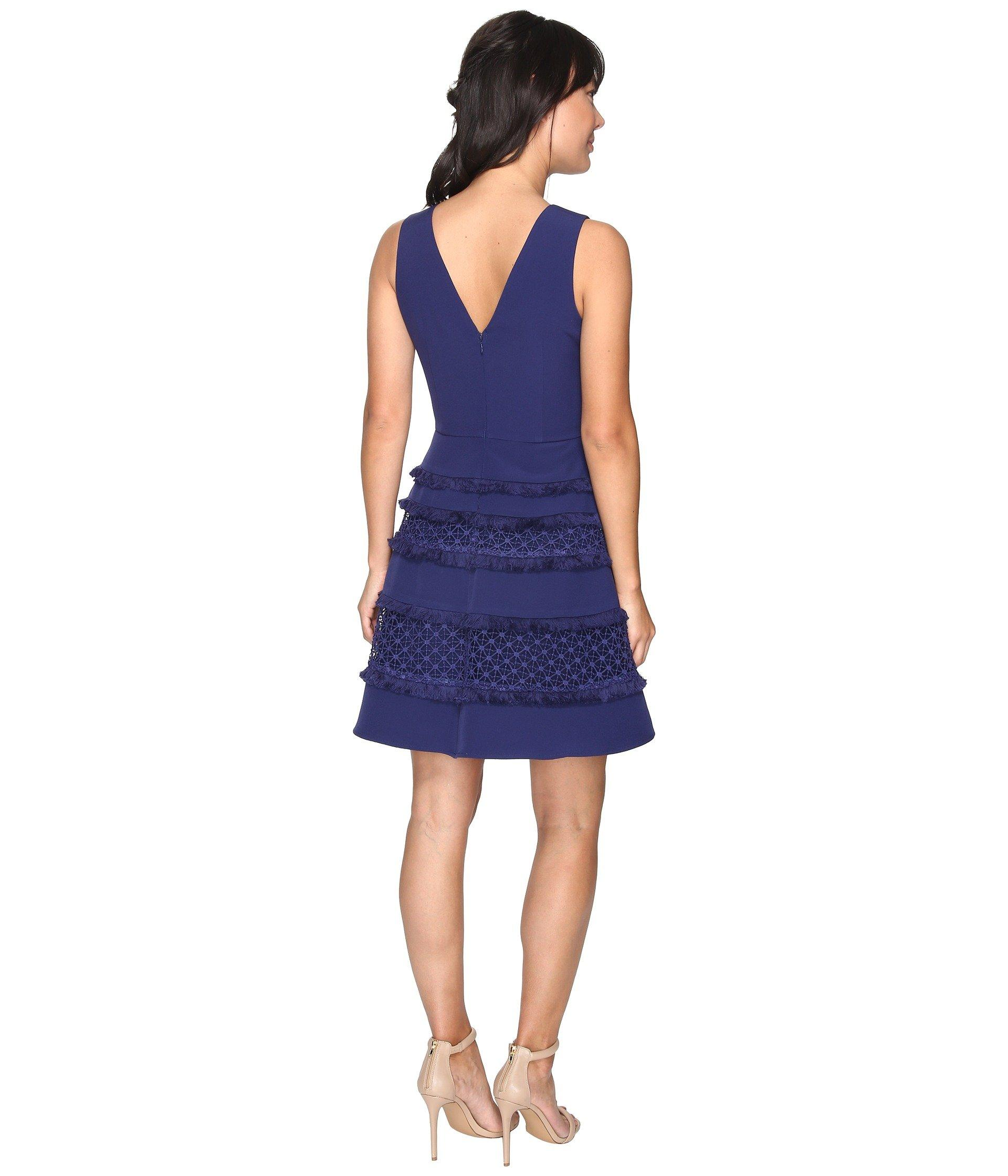 Adelyn Rae Carol Woven Lace Fringe Fit And Flare Dress In
