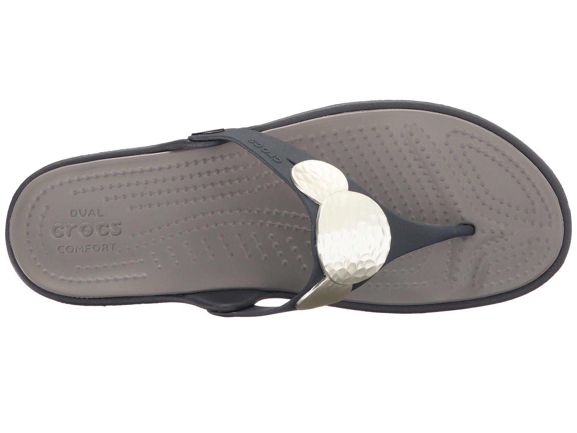 314c36a584ee Crocs™ - Blue Sanrah Embellished Wedge Flip - Lyst. View fullscreen