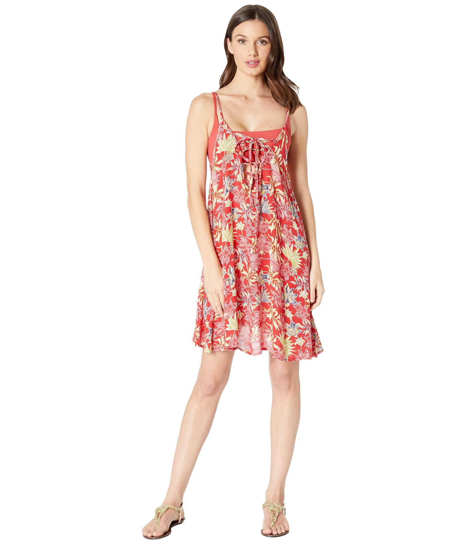 eced912c71 Roxy Printed Softly Love Cover-up Swimsuit Dress in Red - Lyst