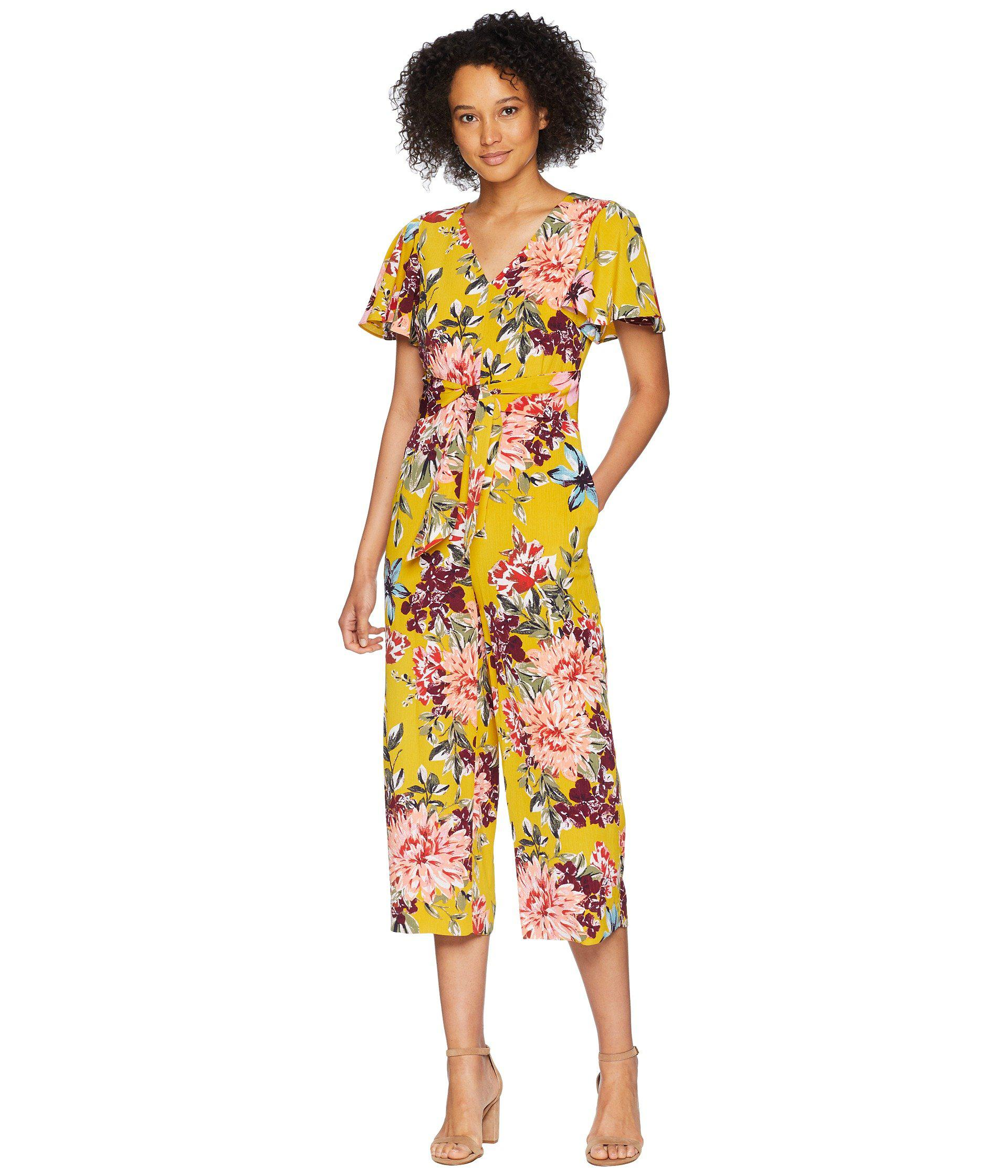 eea25062164 Lyst - Tahari Tie Front Floral Cropped Jumpsuit - Save 22%