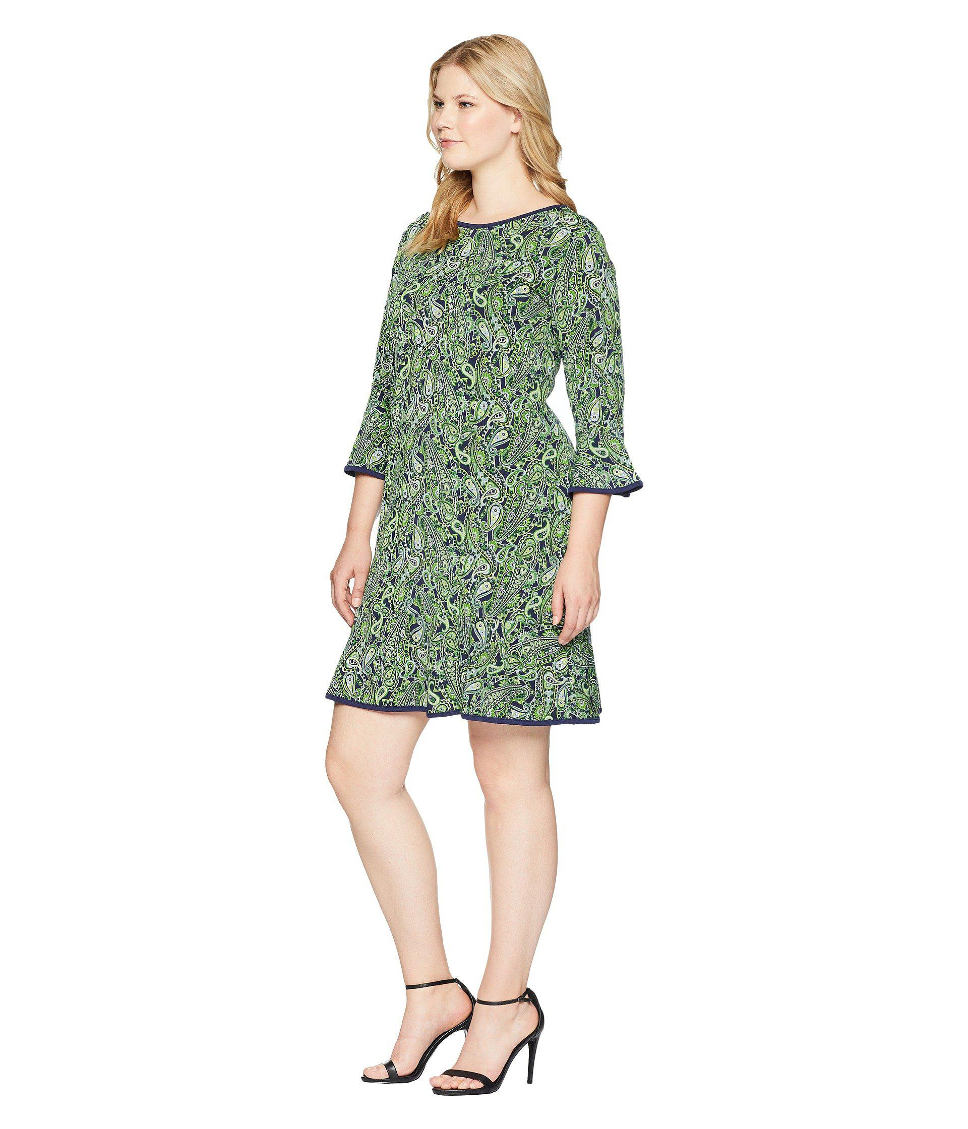 375825dd35e85 Lyst - MICHAEL Michael Kors Plus Size Paisley Flounce Dress in Green - Save  55%
