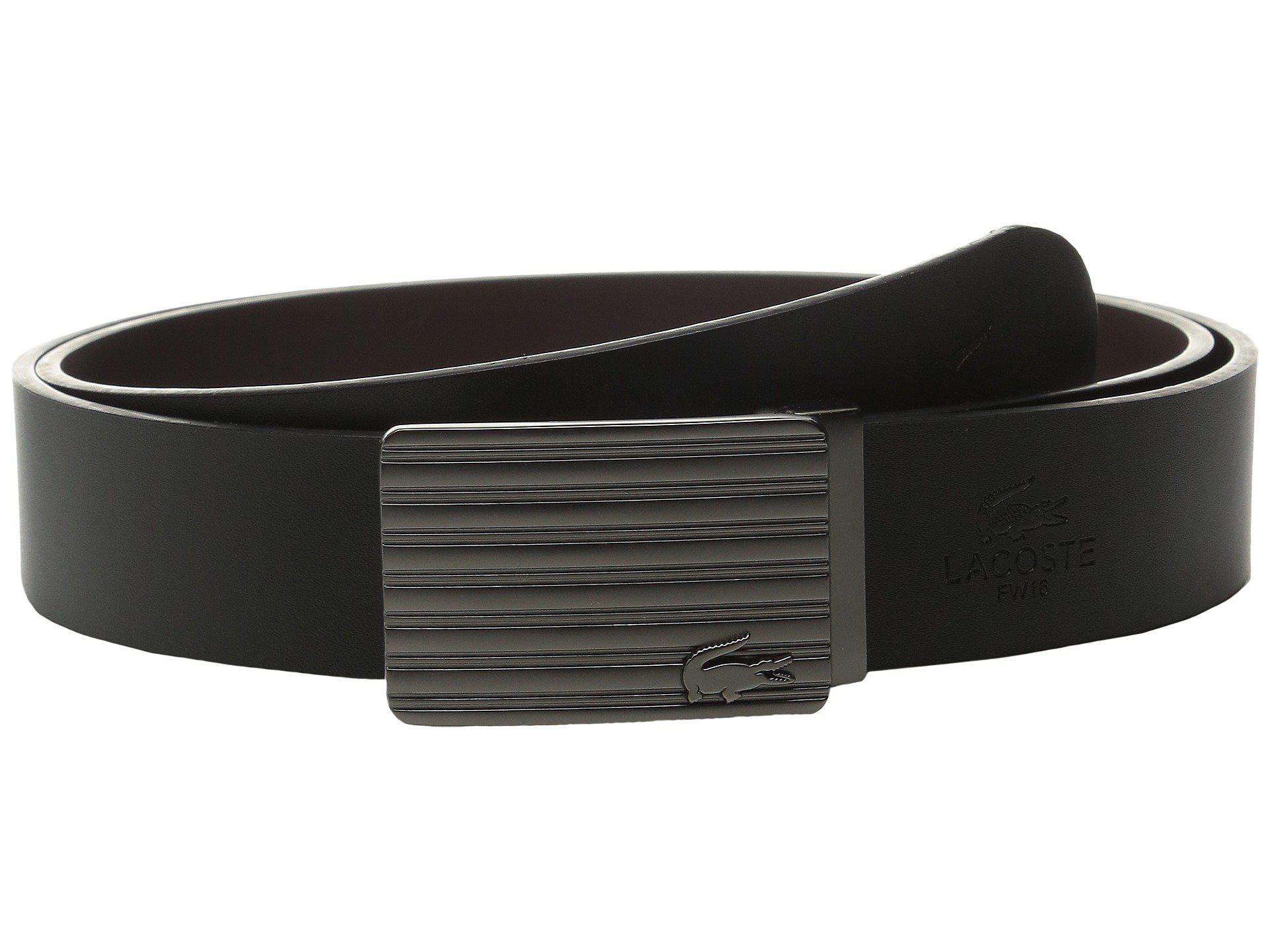 4439e864ac Lacoste Premium Leather Interchangeable Buckle Belt Set in Black for ...