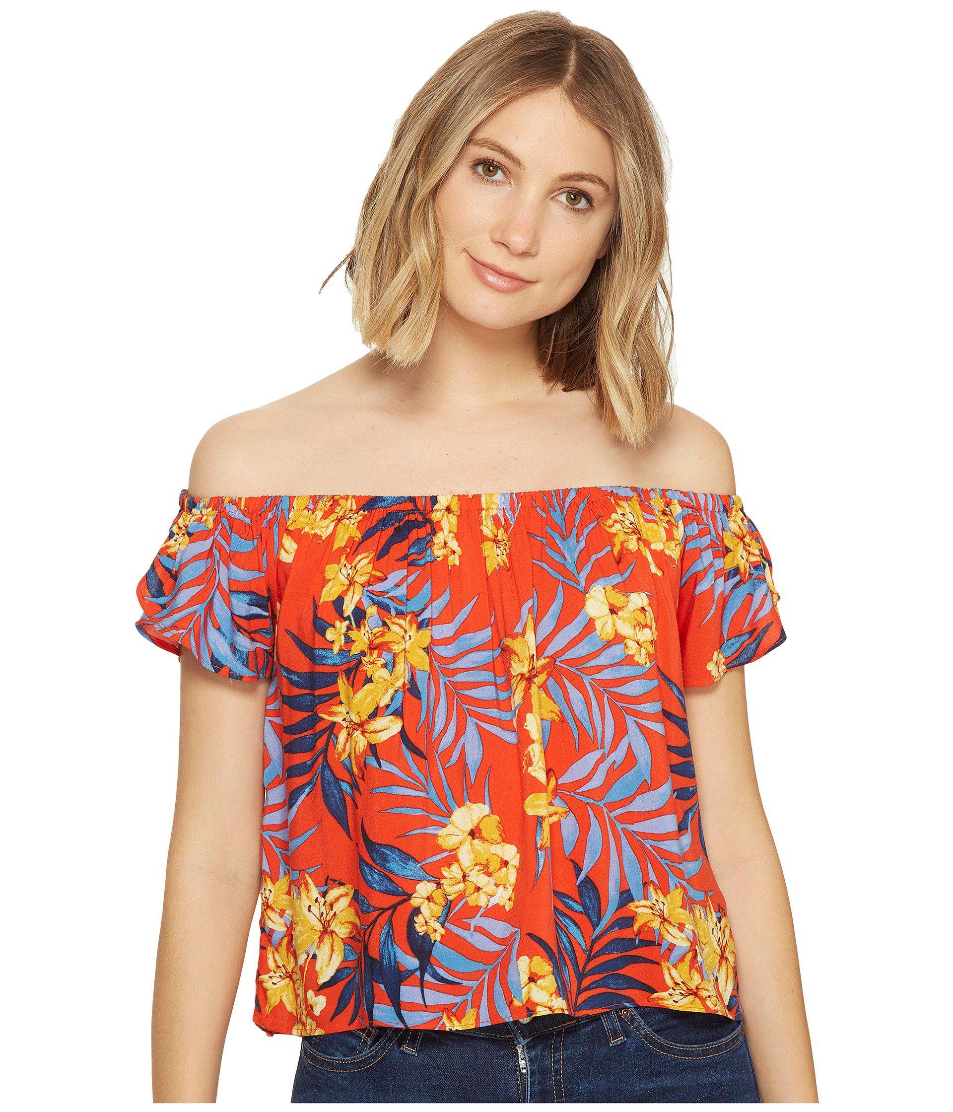 581bd103c32 Lyst - Rip Curl Tropicana Off The Shoulder Top in Red - Save 50%