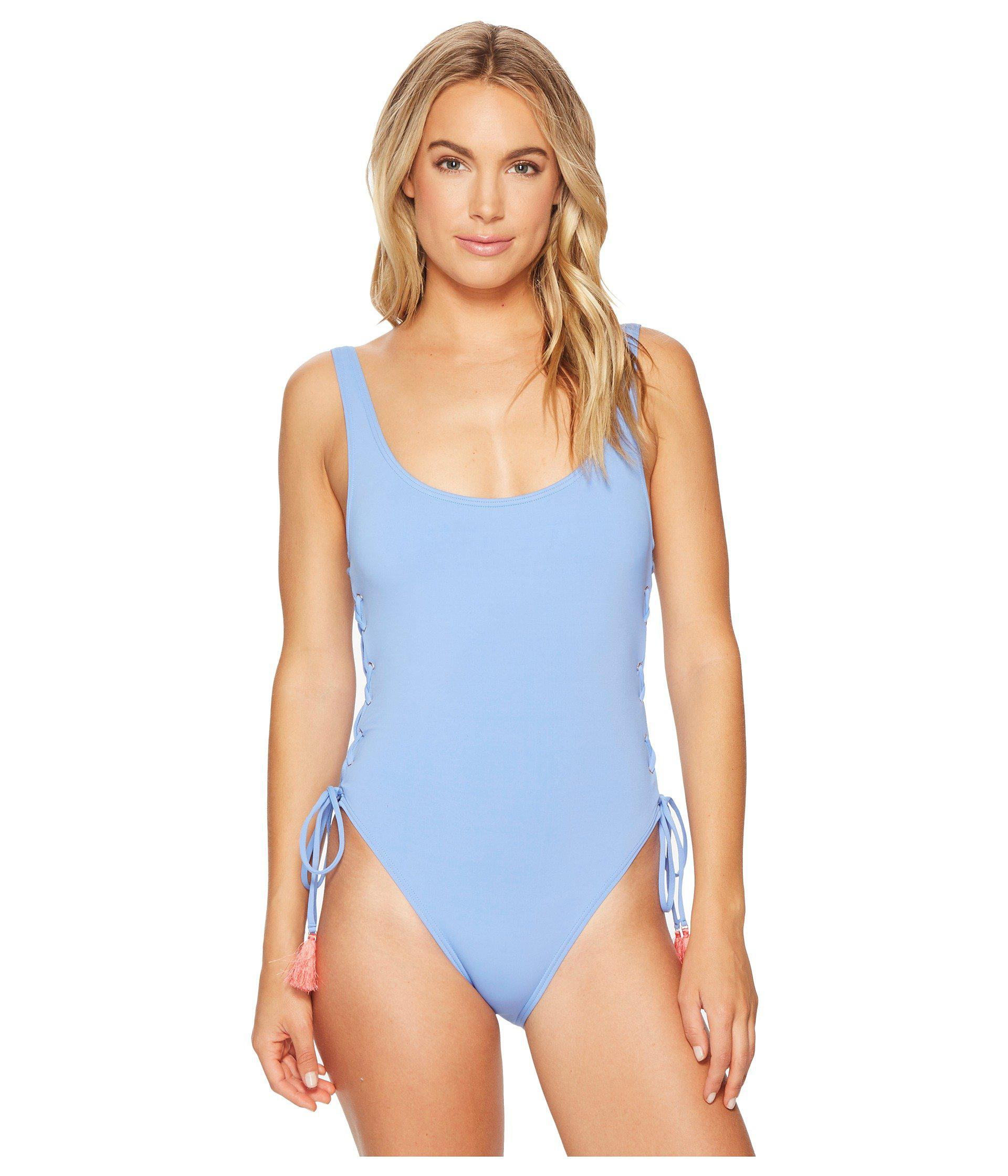 4cdcb609cca1c Vince Camuto. Women s Blue Riviera Solids Lace-up U-neck One-piece Swimsuit  W  Removable Soft Cups