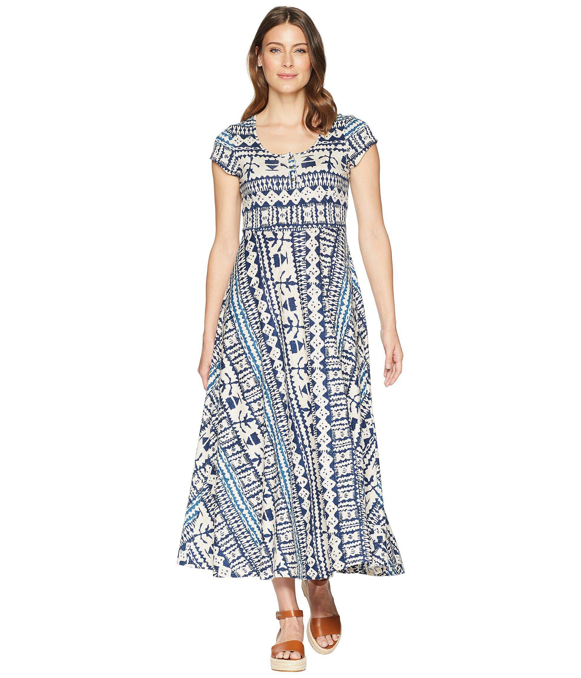 34dcb947068 Lyst - Chaps Short Sleeve Batik Cotton Jersey Maxi Dress in Blue ...