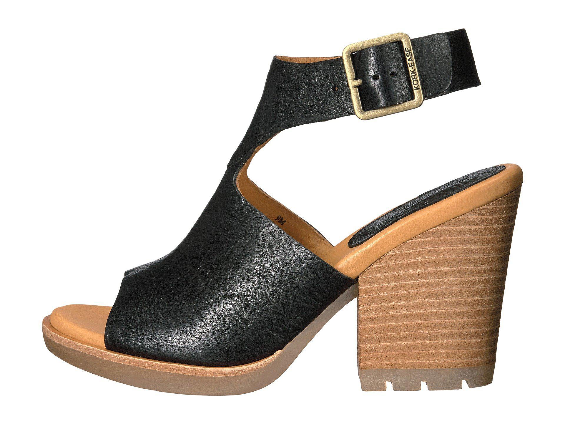 Kork Ease Linden Leather Block Heel Sandals In Black Lyst