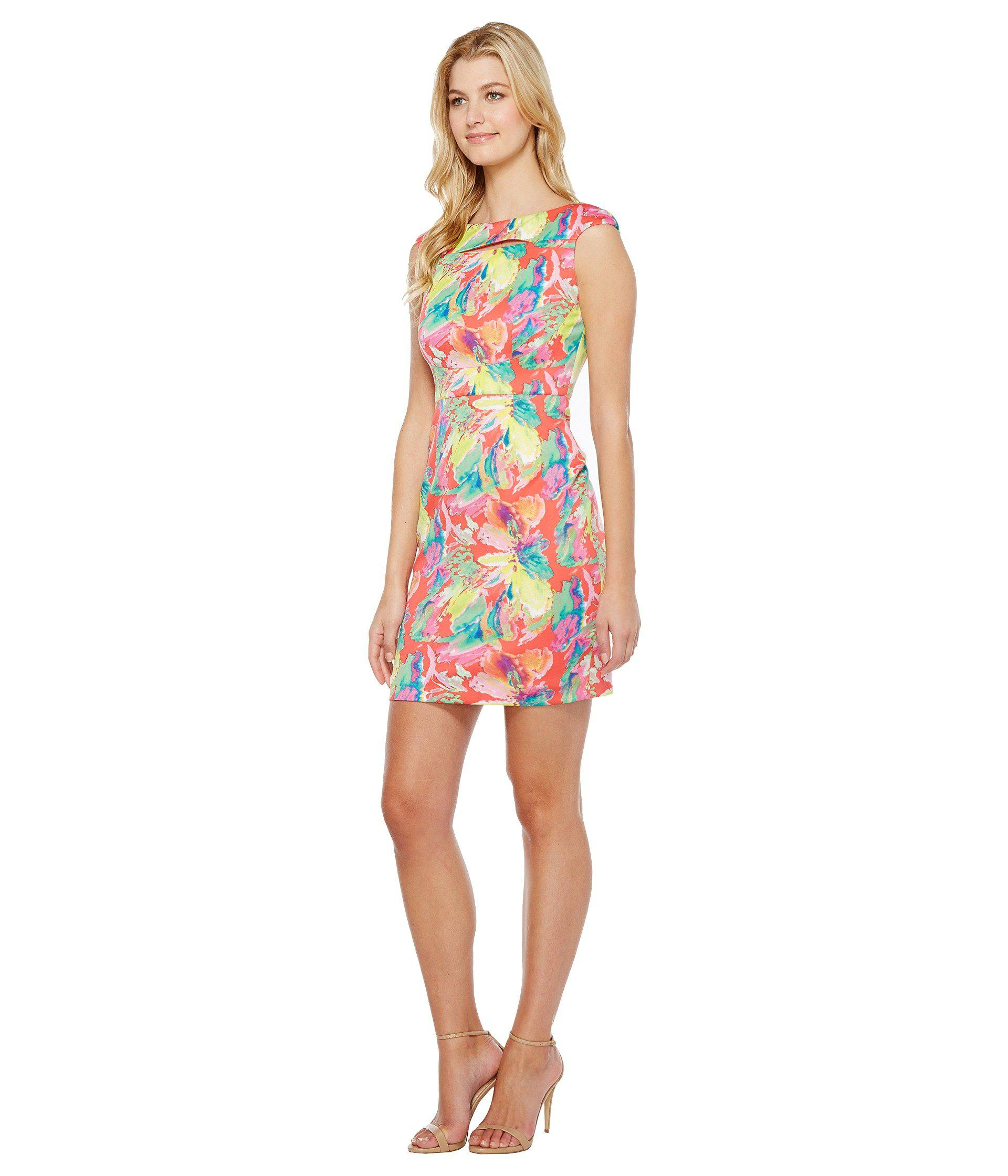4e4aa46c95 Lyst - Tahari Scuba Floral Sheath Dress in Pink