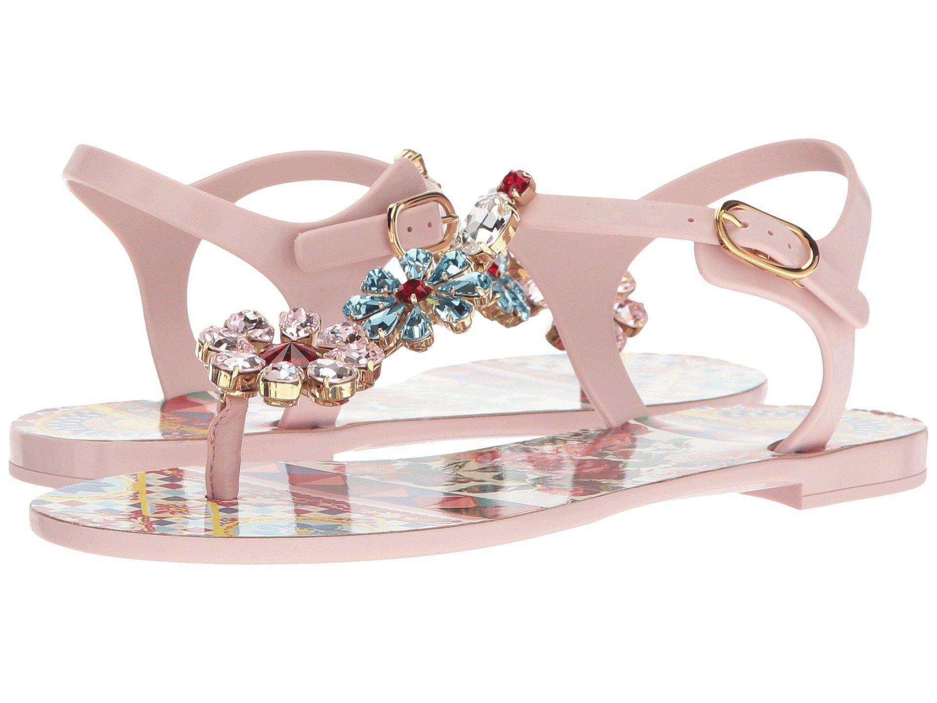 318231845c40 Lyst - Dolce   Gabbana Carretto Jelly Sandal With Swarovski Crystals ...