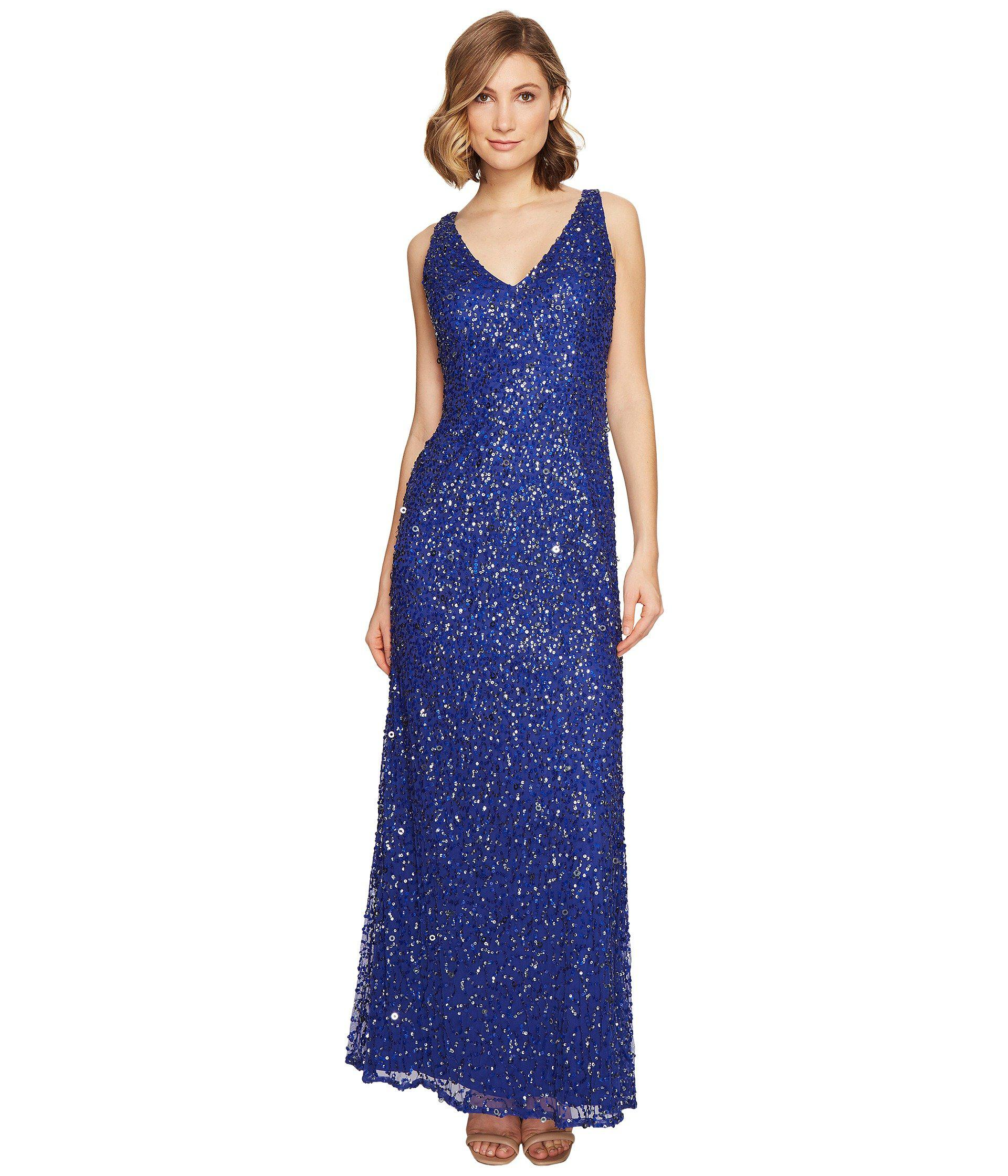 Lyst - Adrianna Papell Sleeveless Beaded Mermaid Gown in Blue - Save 42%