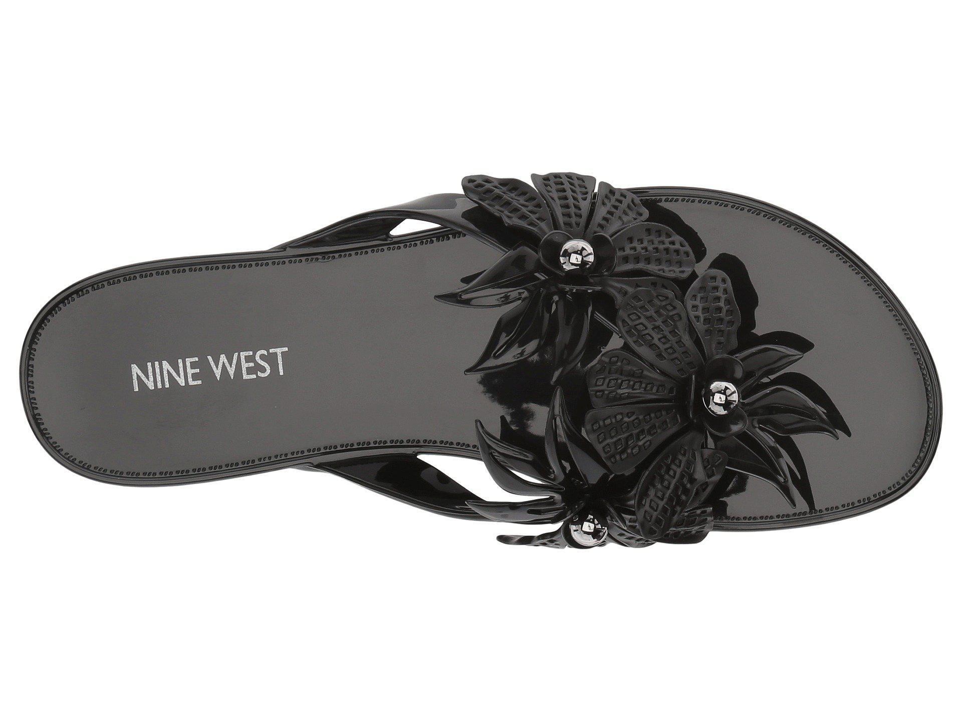 ef7484877cd1 Nine West - Black Macinee Jelly Thong Sandal - Lyst. View fullscreen
