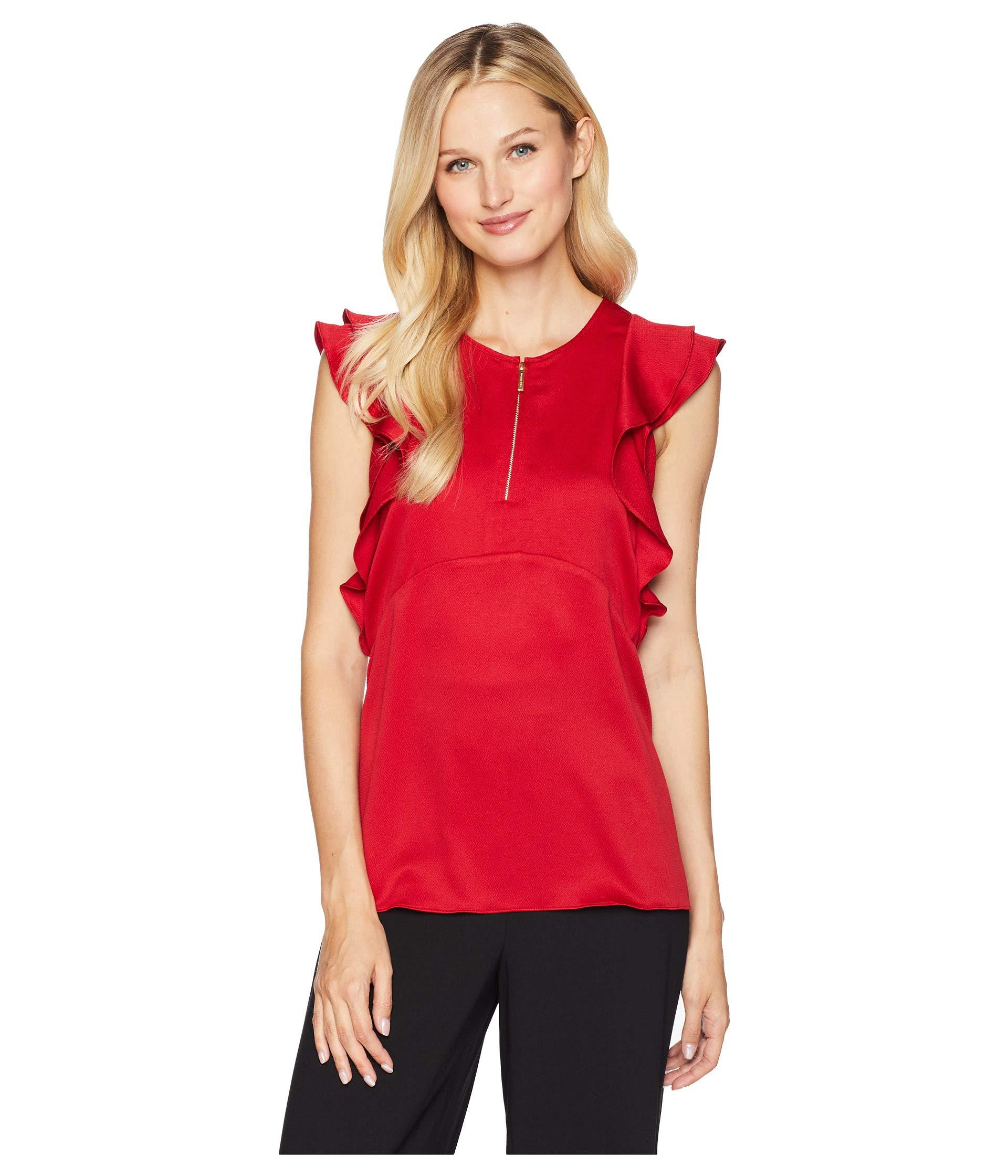 9828625202c Lyst - MICHAEL Michael Kors Flounce Double Sleeve Top in Red - Save 44%