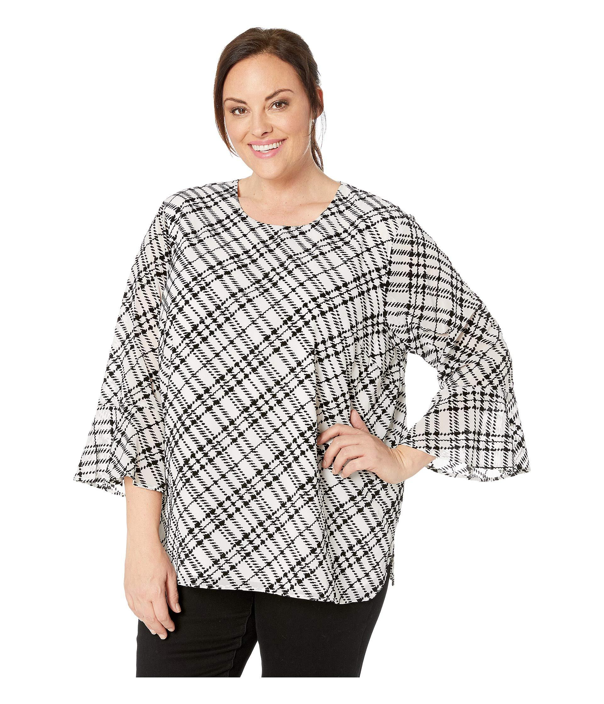 02d54f6a3cc Lyst - Calvin Klein Plus Size Plaid Flocked Flare Sleeve Top in Black -  Save 17%
