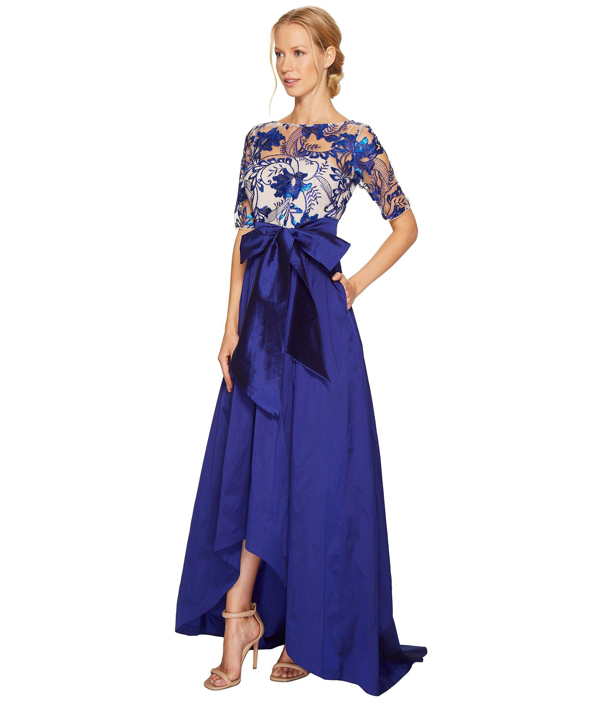 Lyst Adrianna Papell Floral Flutter Sequin Embellished Gown In Blue