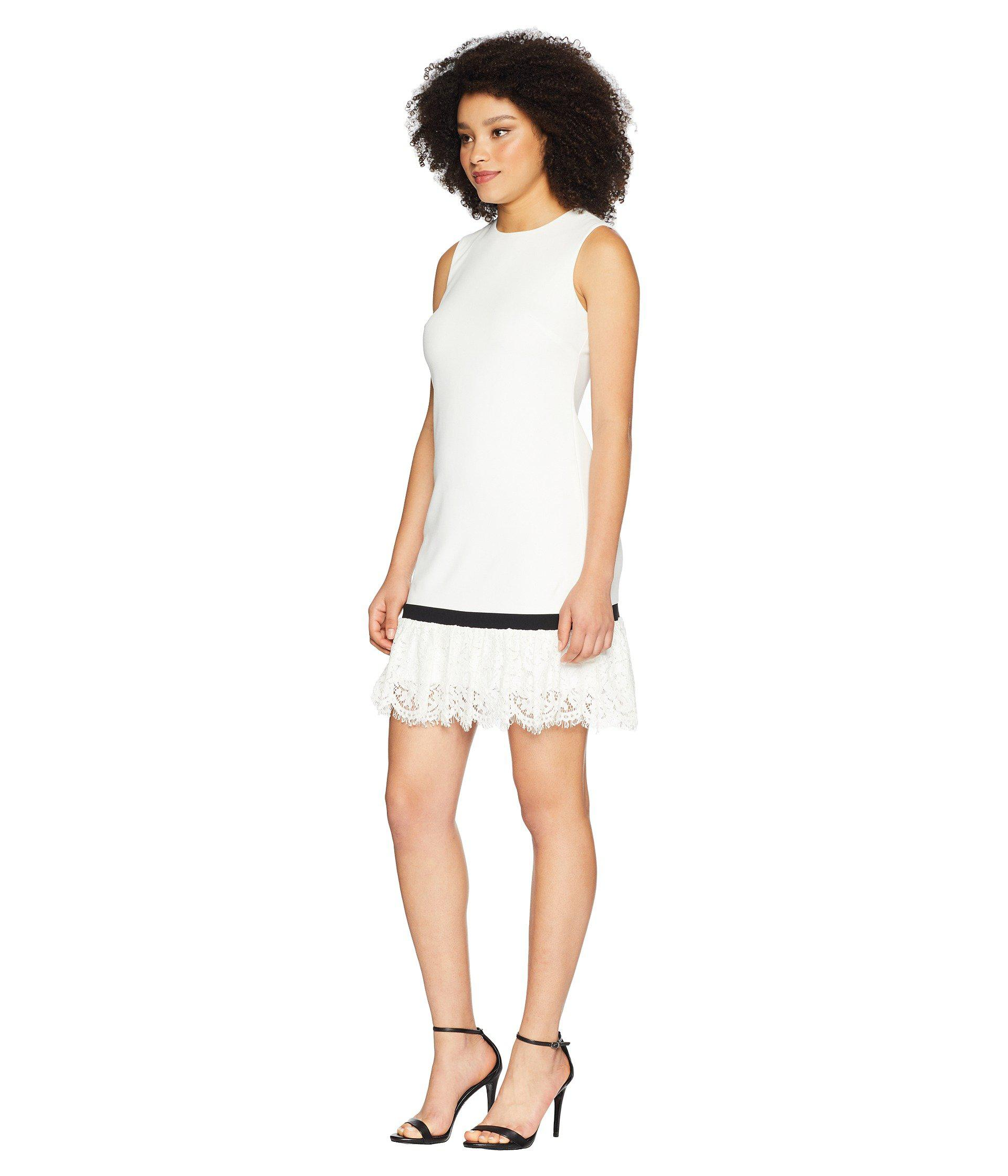 2e574b80 Lyst - Calvin Klein Lace Hem Sheath Dress Cd8c14lu in White - Save 58%
