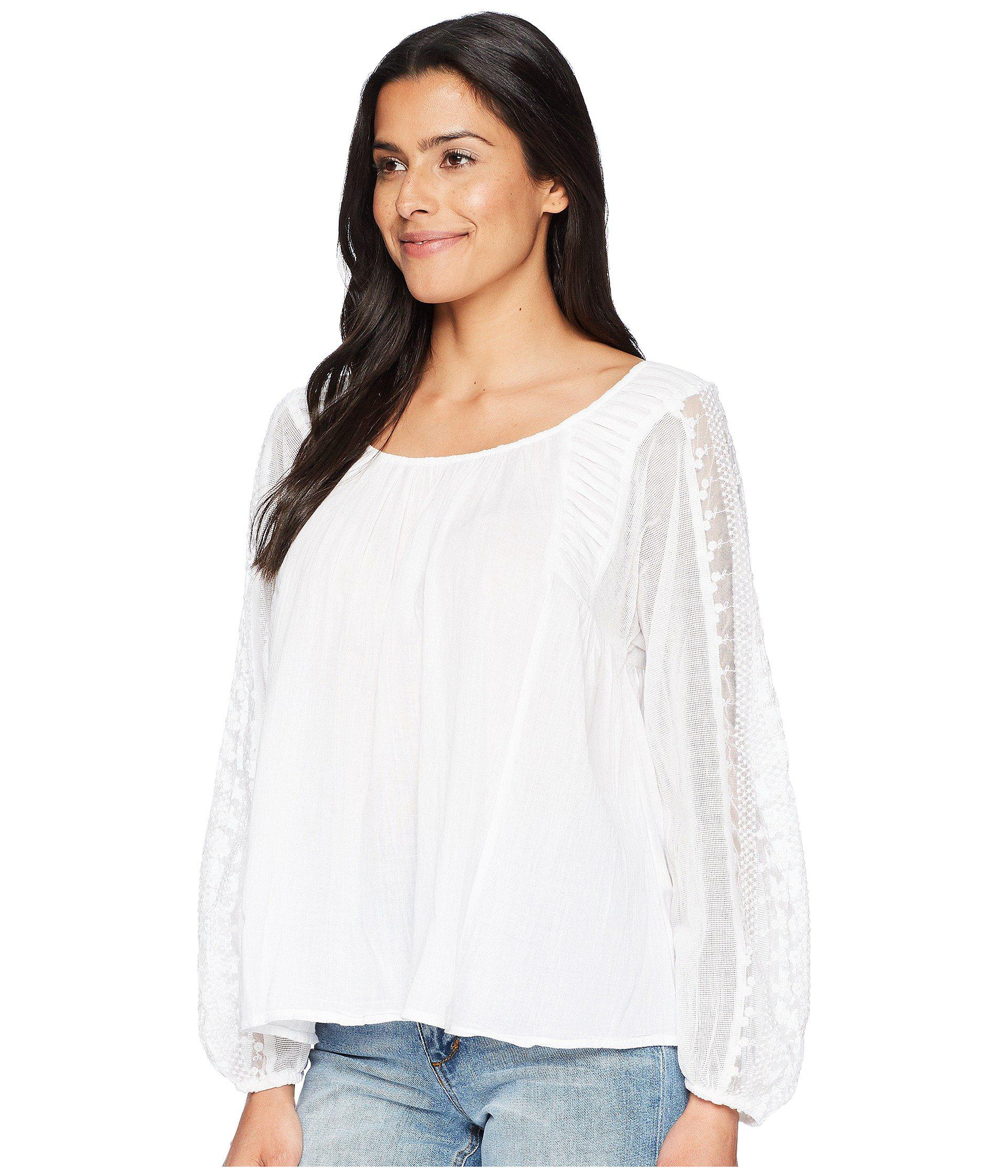 dfbbe87fd76bf Lyst - Lucky Brand Cross-back Peasant Top in White - Save 13%