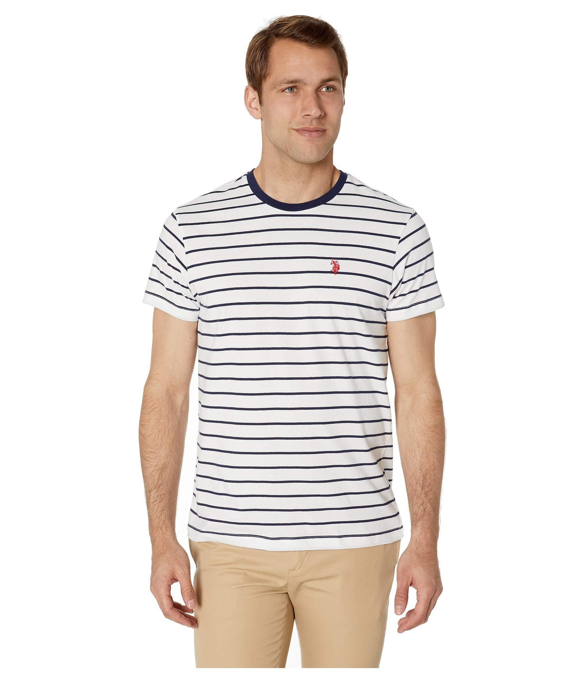 1511438a5 Lyst - U.S. POLO ASSN. Thin Stripe Crew Neck Tee in White for Men