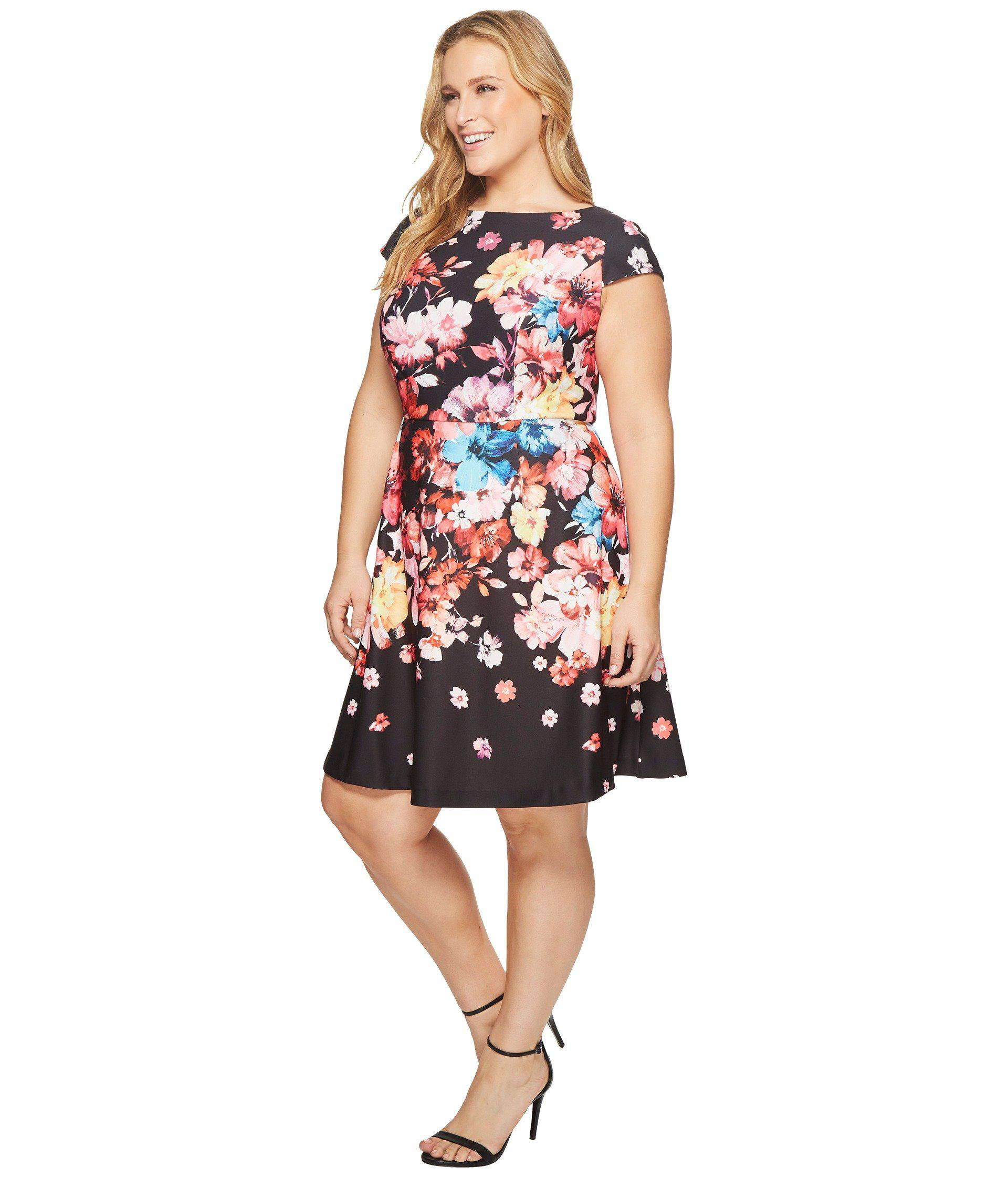 0091bd37e21c5 Lyst - Adrianna Papell Plus Size Spring In Bloom Printed Fit And Flare in  Black - Save 35%
