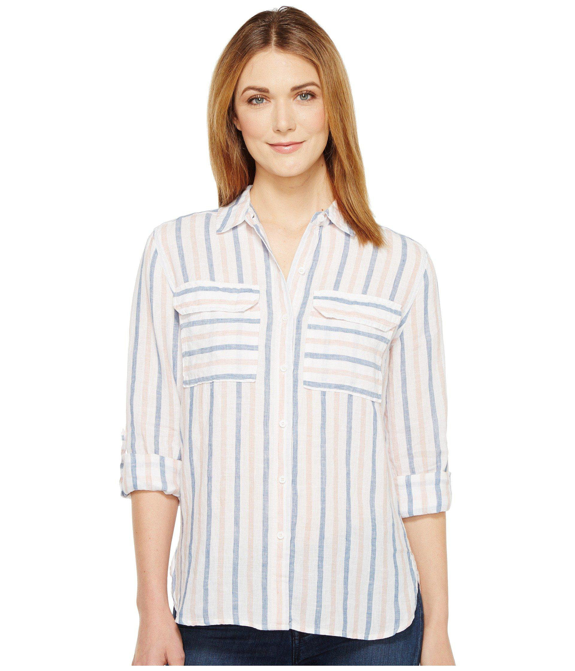 0b73f079579 Two By Vince Camuto. Women s White Long Sleeve Stripe Relaxed Linen Shirt