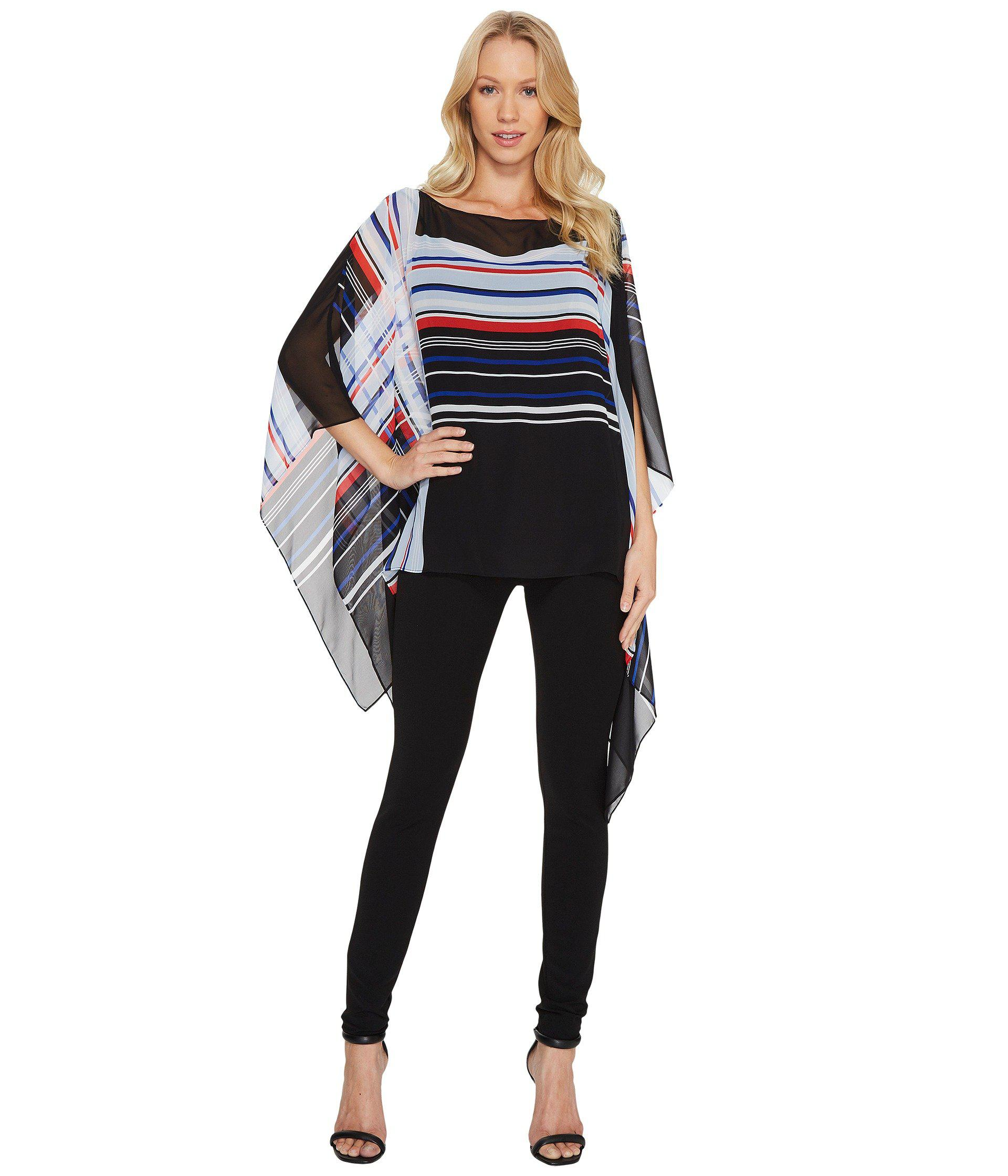 1f998529 Lyst - Vince Camuto Linear Graphic Panel Poncho in Black - Save 43%