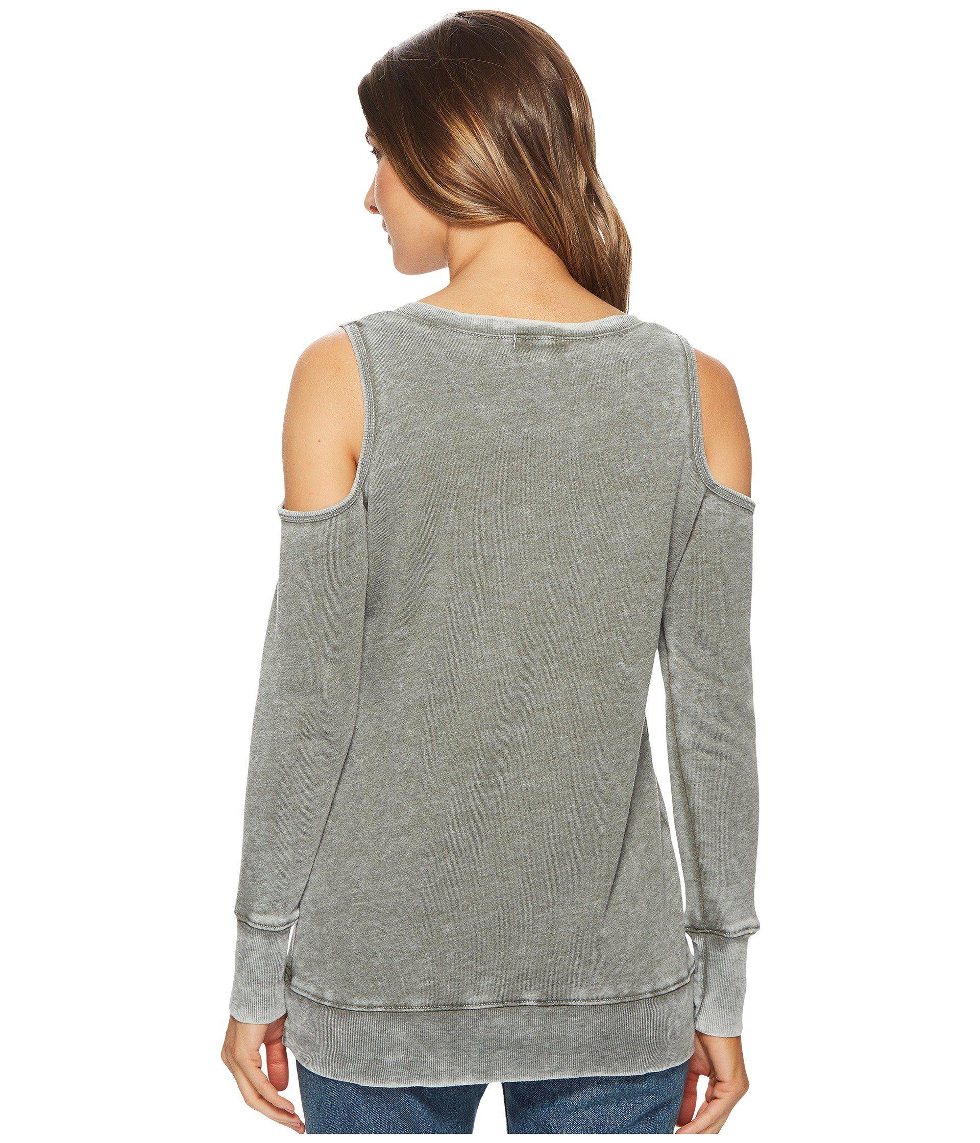 3b5bf5bb28c468 Allen Allen - Gray Long Sleeve Cold Shoulder V-neck Sweatshirt - Lyst. View  fullscreen