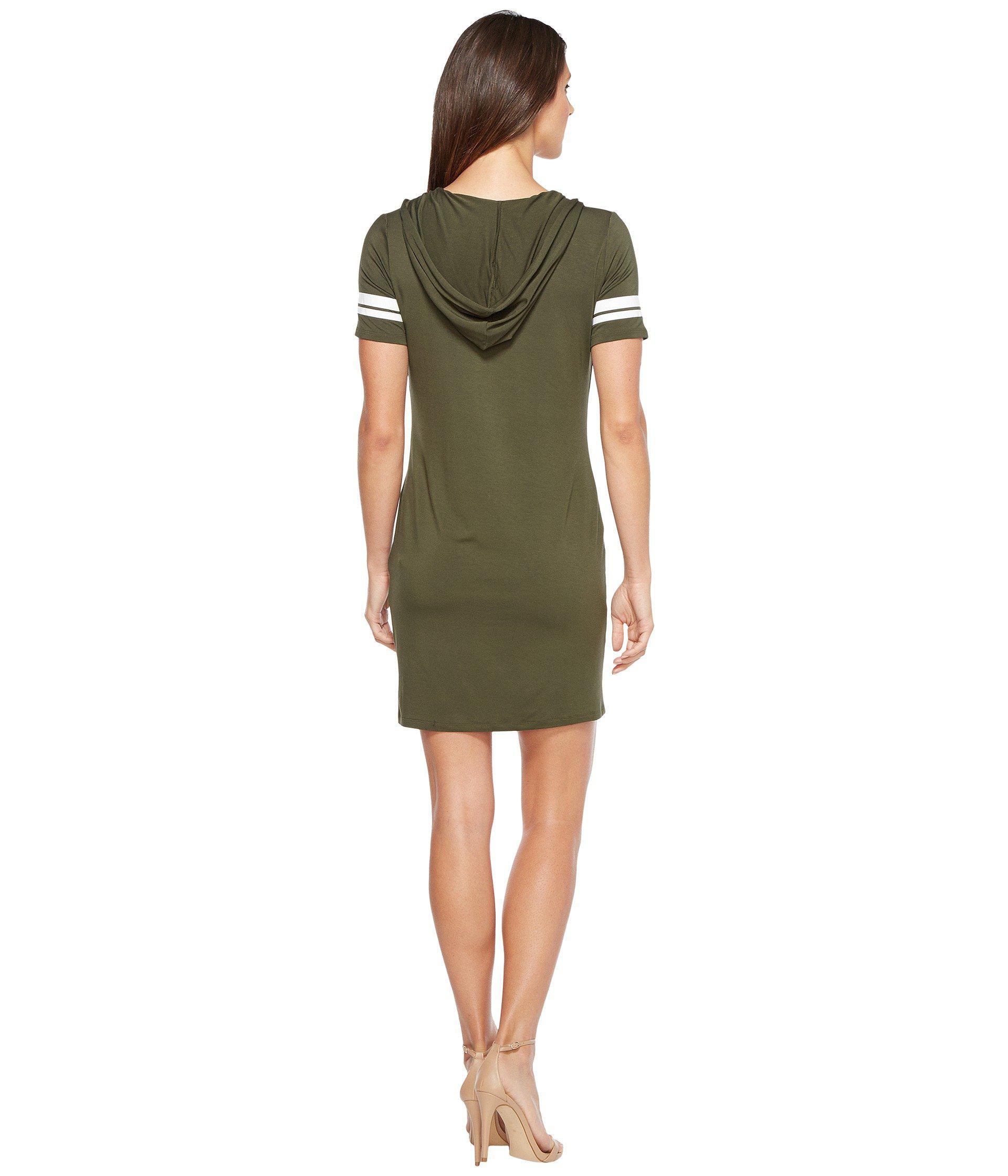 4c8b3ce7f34 Lyst - MICHAEL Michael Kors Stripe Short Sleeve Hoodie Dress in Green