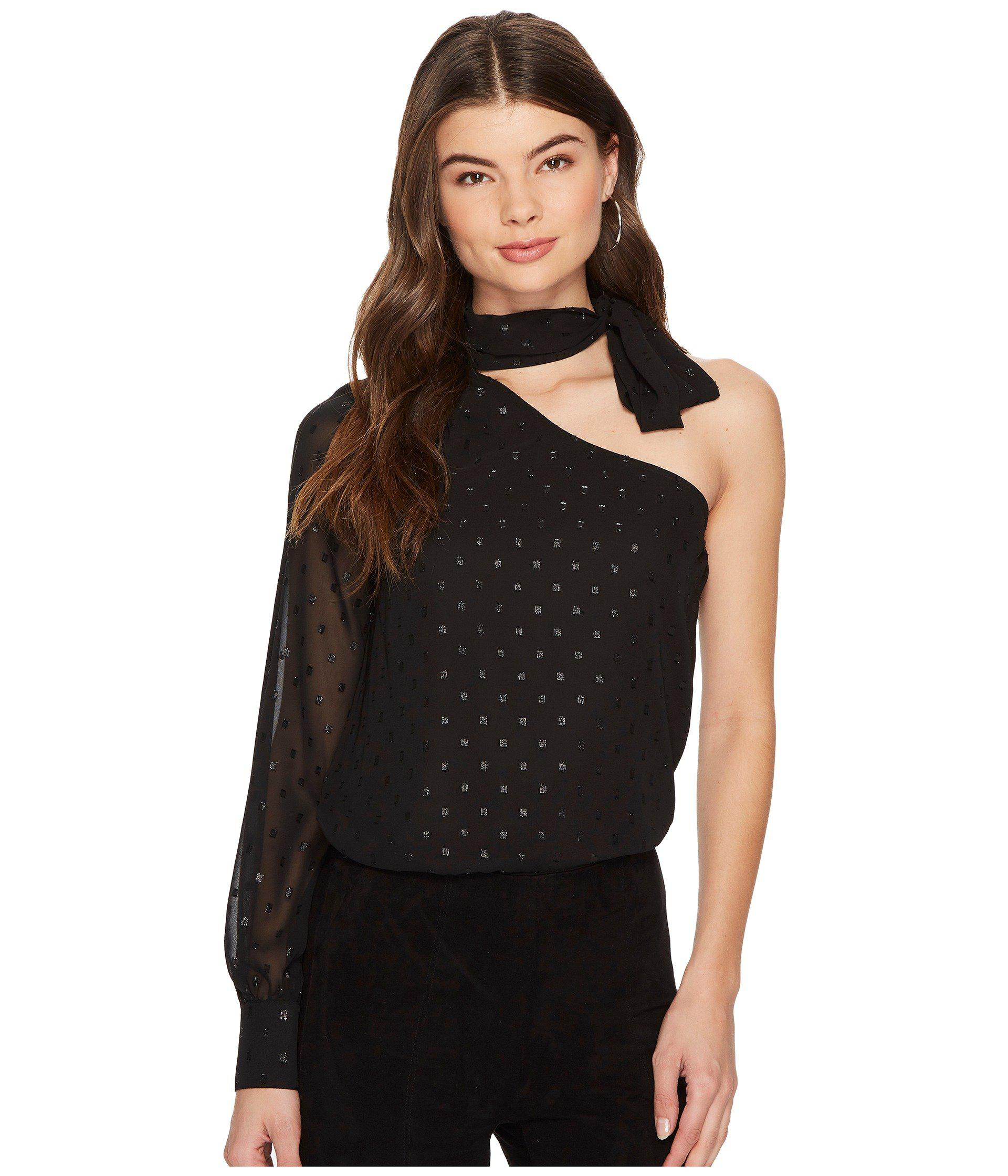 c8f59e8674feb Lyst - 1.STATE One Shoulder Blouse With Tie Neck in Black