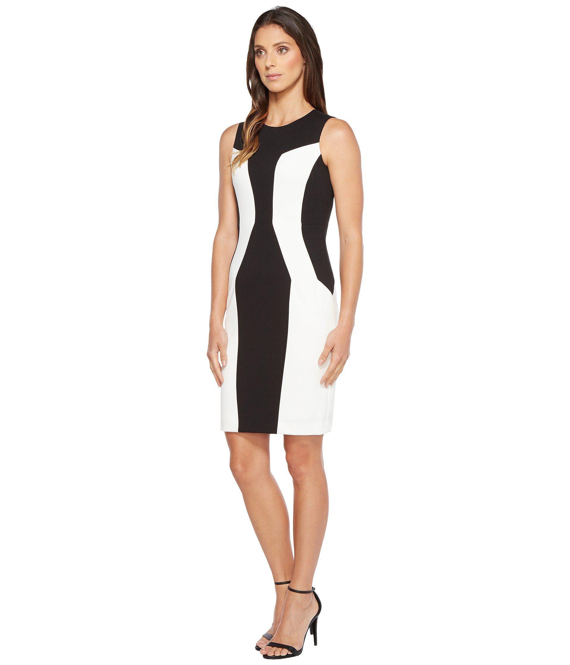 58b27572ae12c Lyst - Calvin Klein Color Block Ponte Sheath Dress in Black