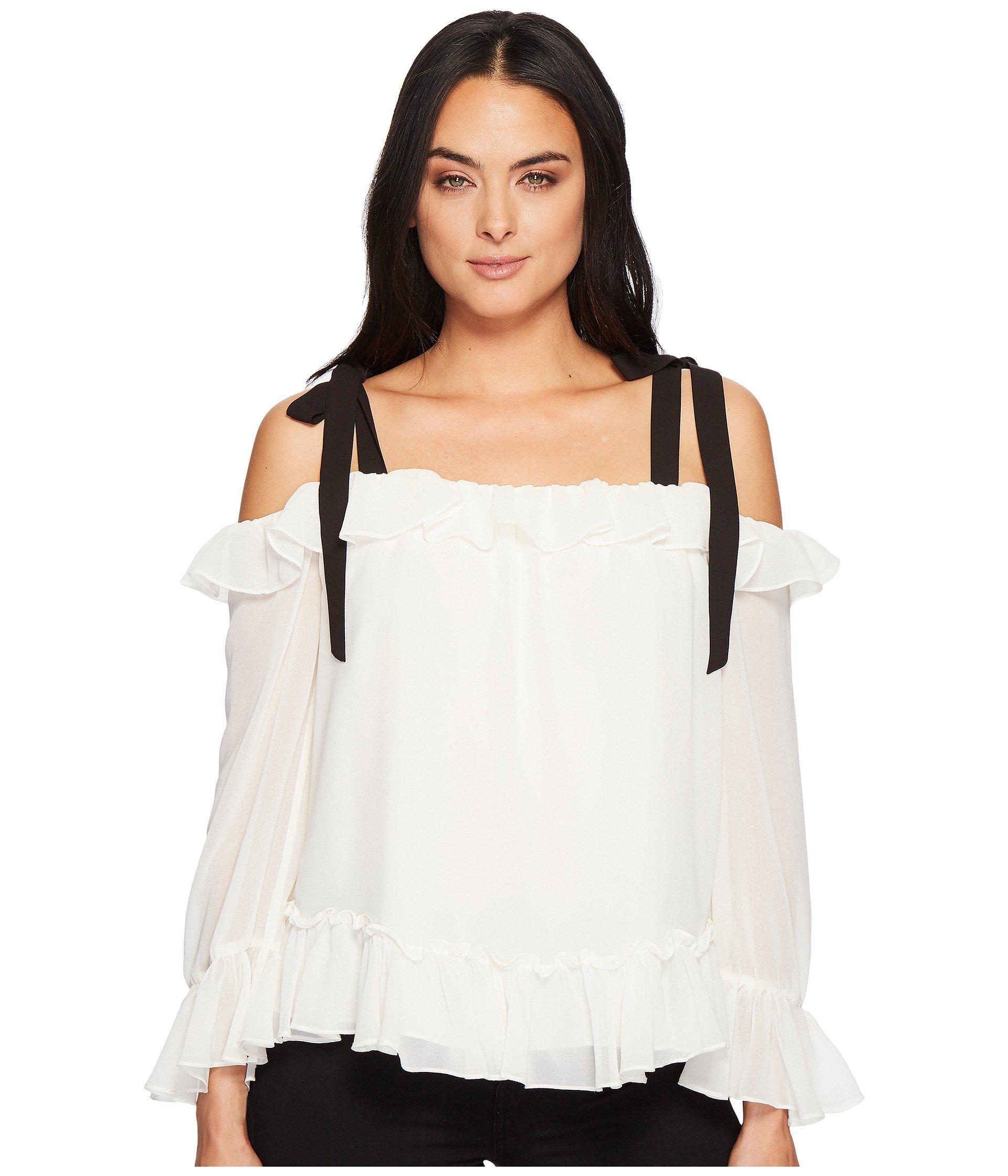 b972464db63fd1 Lyst - Cece Long Sleeve Ruffled Blouse W  Shoulder Ties in White