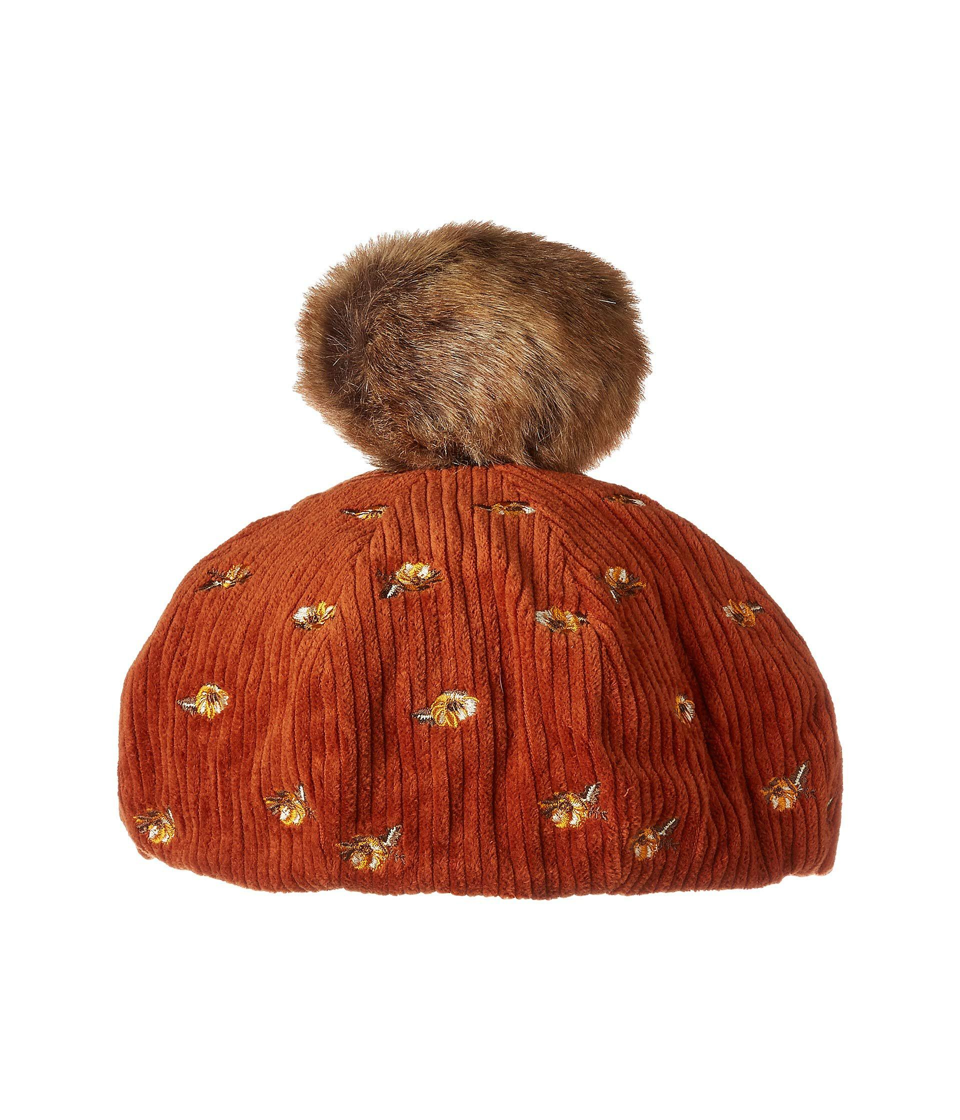 3418cfa719ba4 San Diego Hat Company. Women s Brown Cth8124 Wide Wale Corduroy Beret With  Floral Embroidery And Faux Fur Pom
