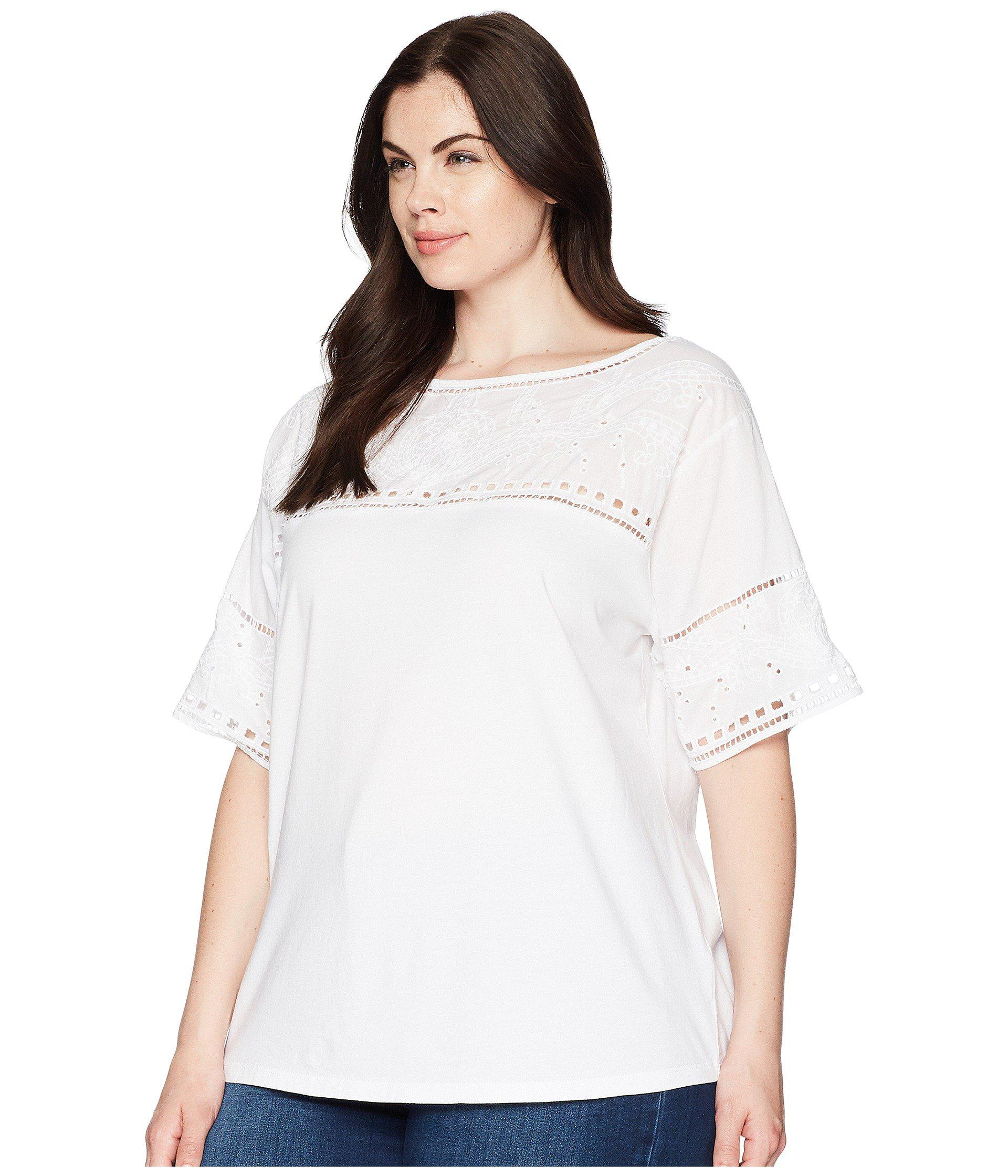 74b624023e6 Lyst - Lauren by Ralph Lauren Plus Size Eyelet Cotton-blend T-shirt in  White - Save 57%