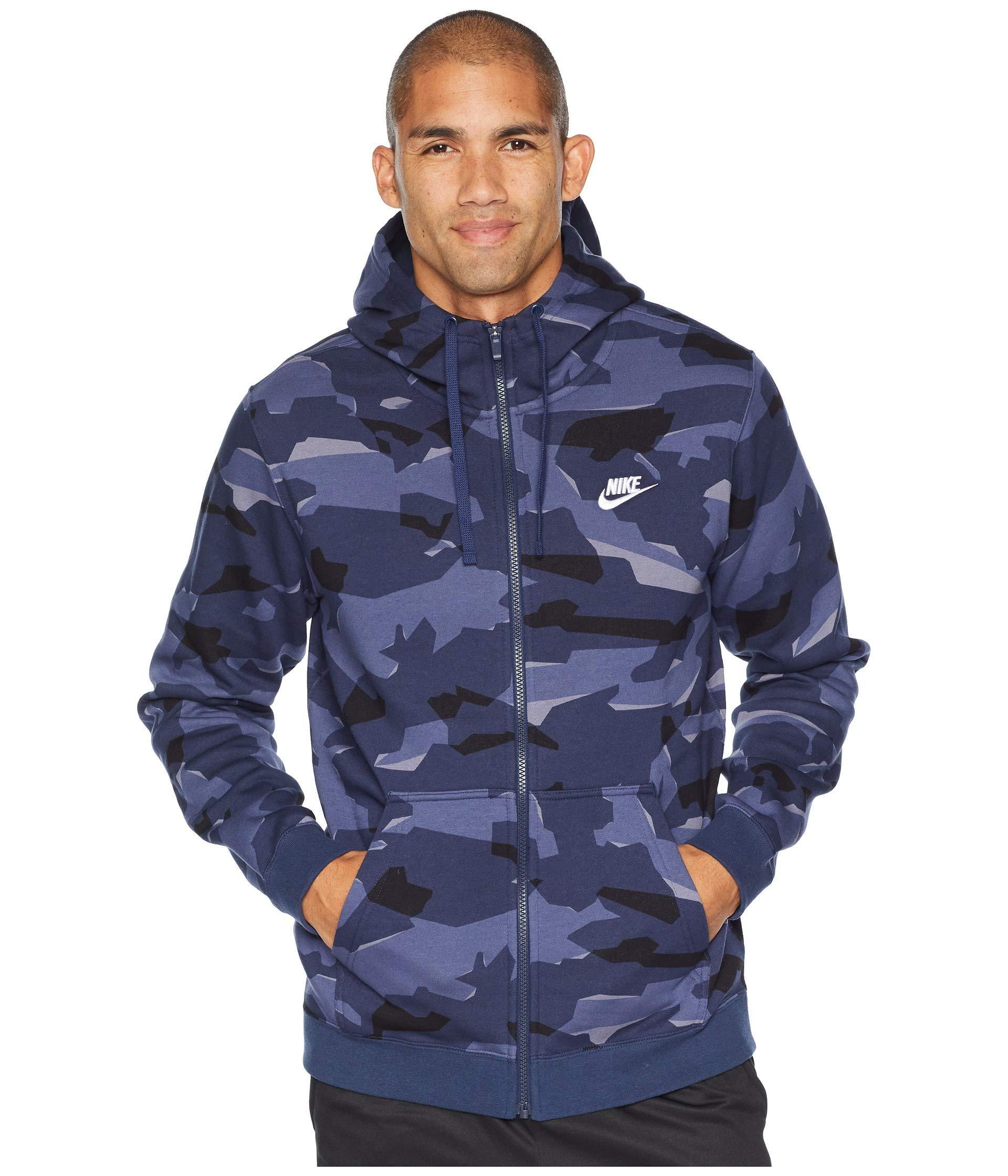 d12977cc26 Lyst - Nike Nsw Club Camo Hoodie Full Zip Bb in Blue for Men - Save 37%