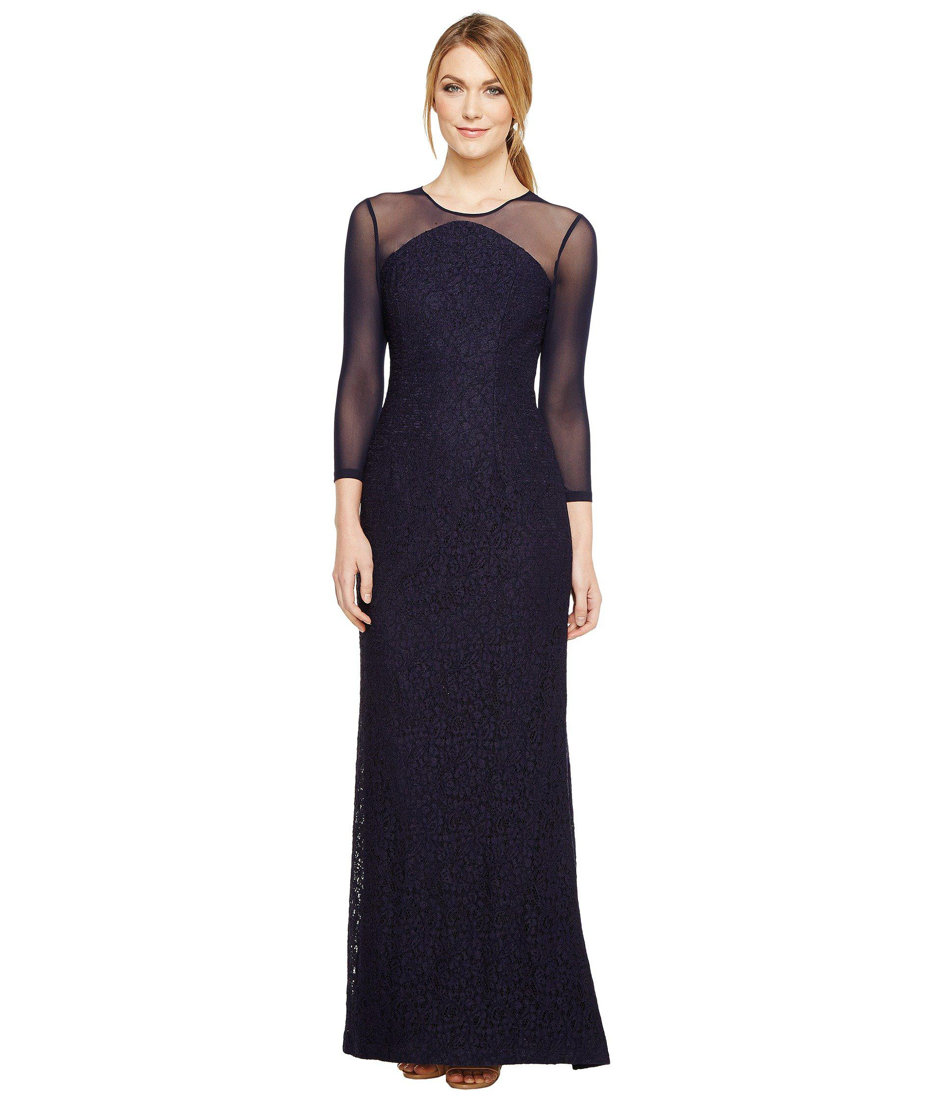 Lyst - Adrianna Papell Lace Modified Mermaid Gown in Blue - Save ...