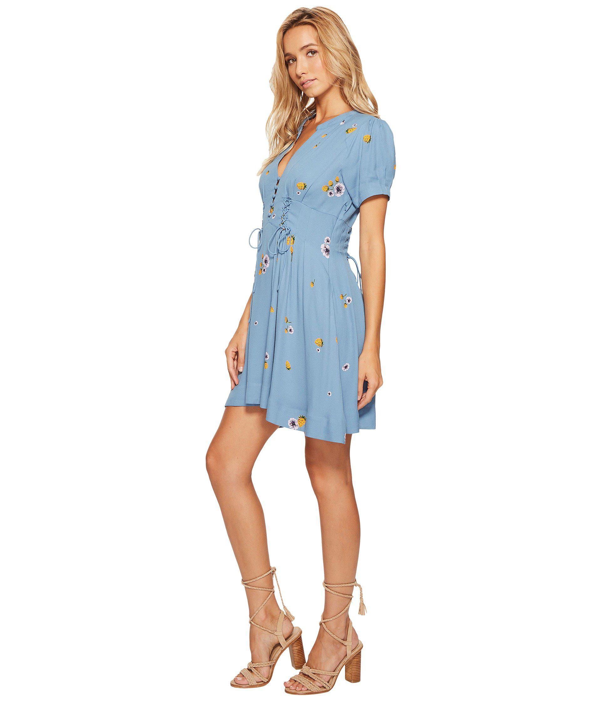 b22e8f43948e Free People Dream Girl Mini Dress in Blue - Lyst