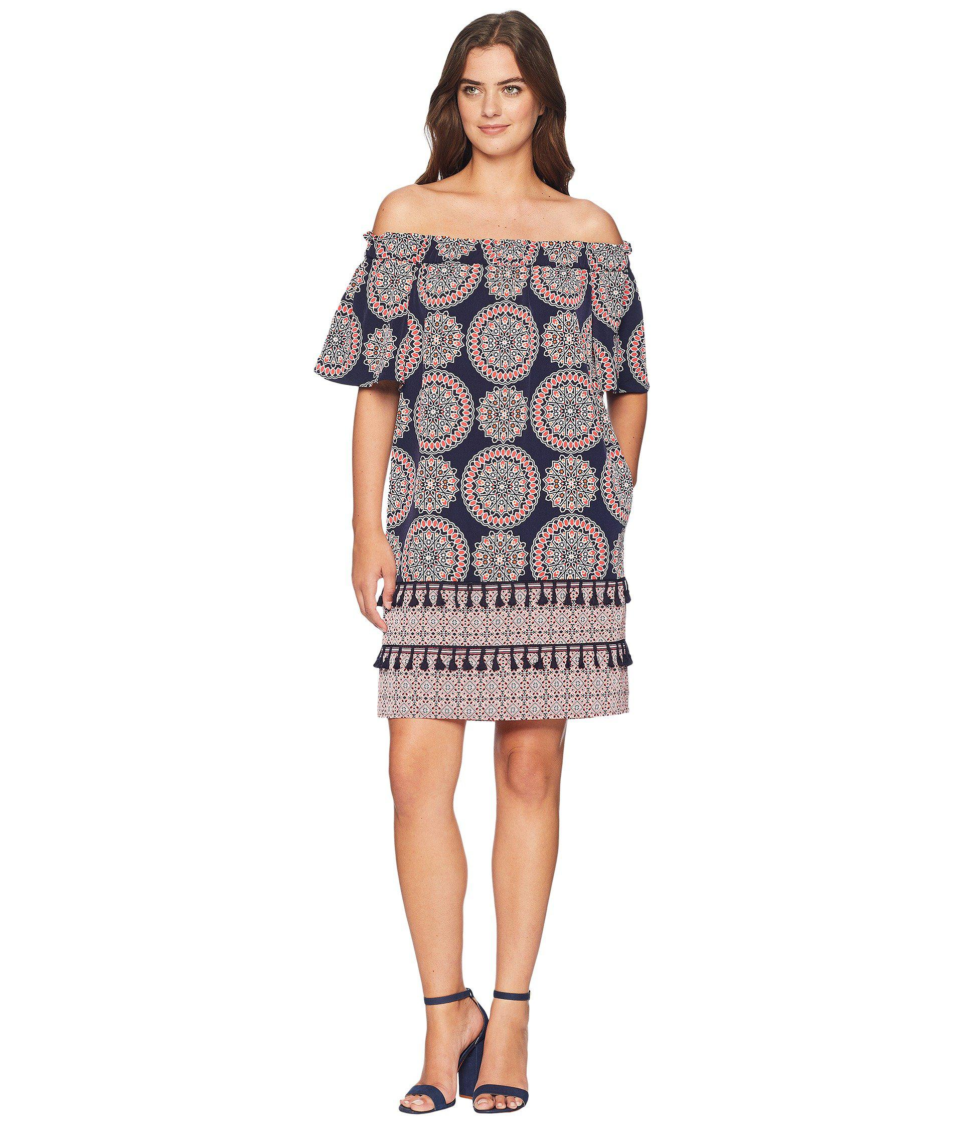 950d4853a126 Lyst - Maggy London Spinning Wheel Printed Off The Shoulder Shift in ...