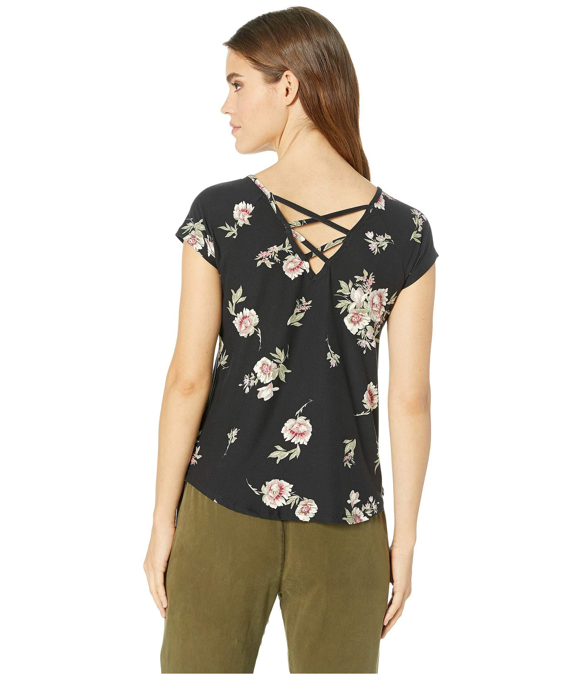 dd65d97363c Pink Rose - Black Raglan Short Sleeve Shirttail Top W  Back Double  Crisscross - Lyst. View fullscreen